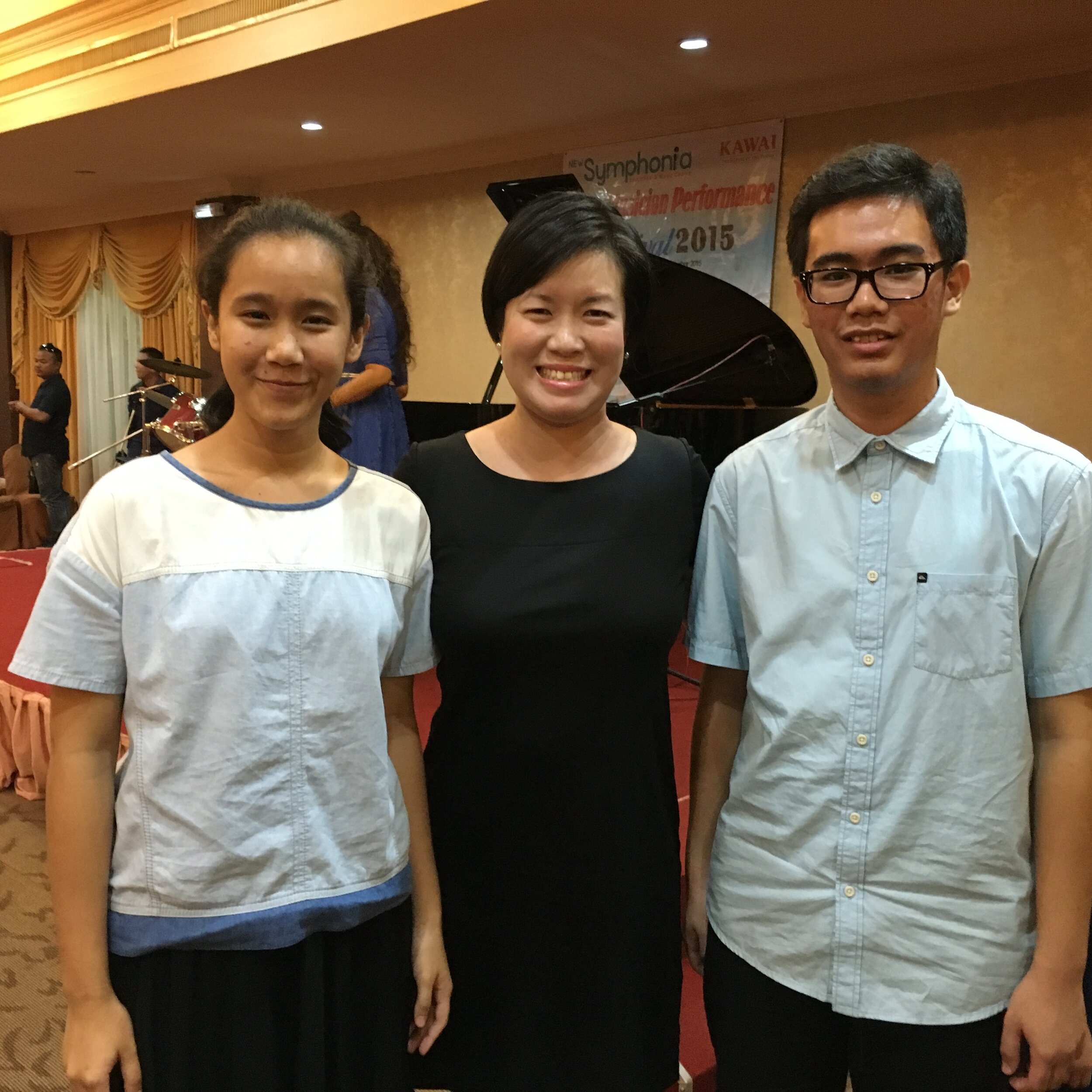 Gillian with 2 participants at Symphonia - Young Musicians Performance Festival