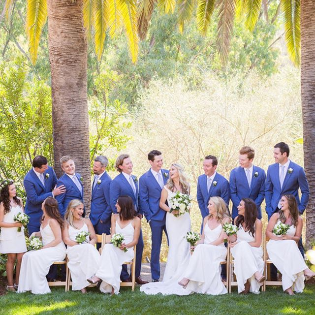 The rose garden at @ranchovalencia is a beautiful location for bridal party photos. Jacquie chose a palette of blues and whites for her bridal party and we love this fun photo from @theyoungrens don't you ? @thejaxfitz