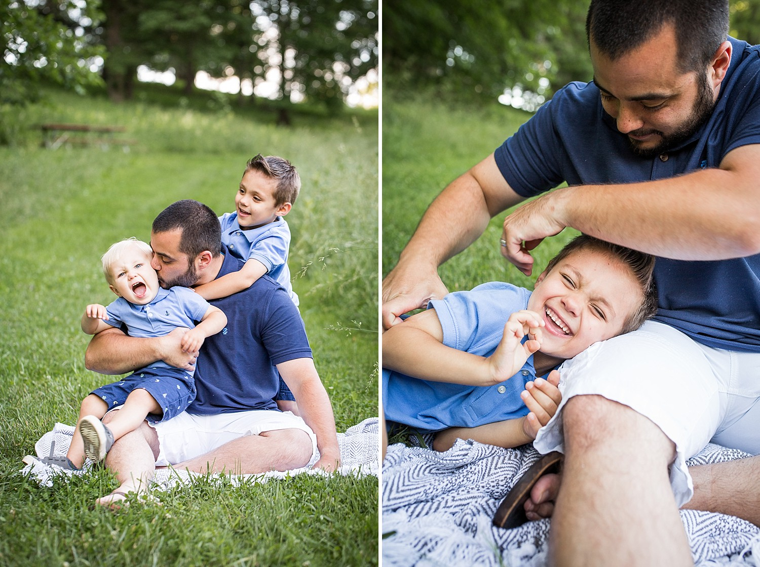 Photo of a dad and his sons laughing and tickling one another outside in the grass.