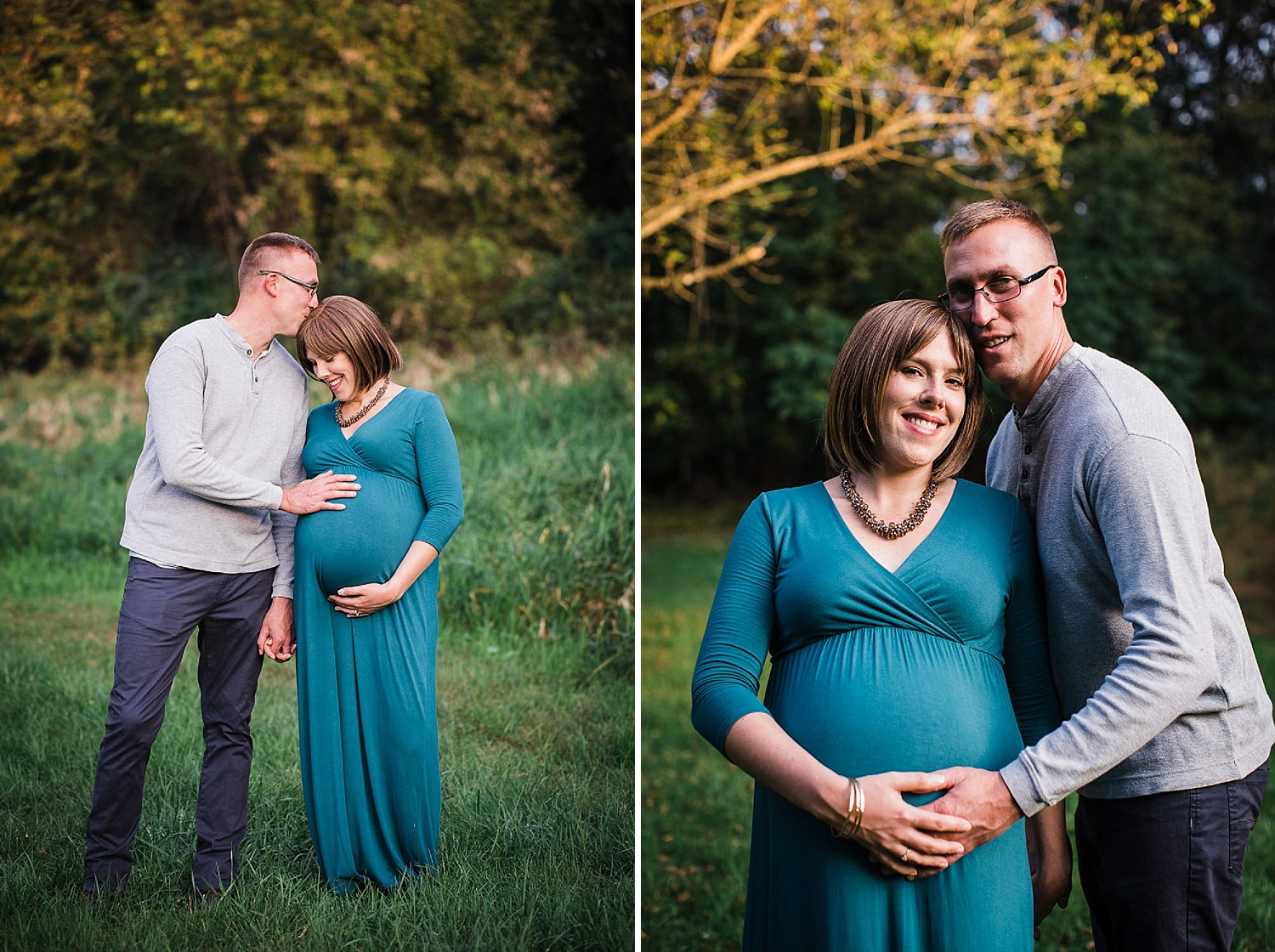 Photo of a pregnant woman in a teal dress and her husband smiling in the golden sunlight