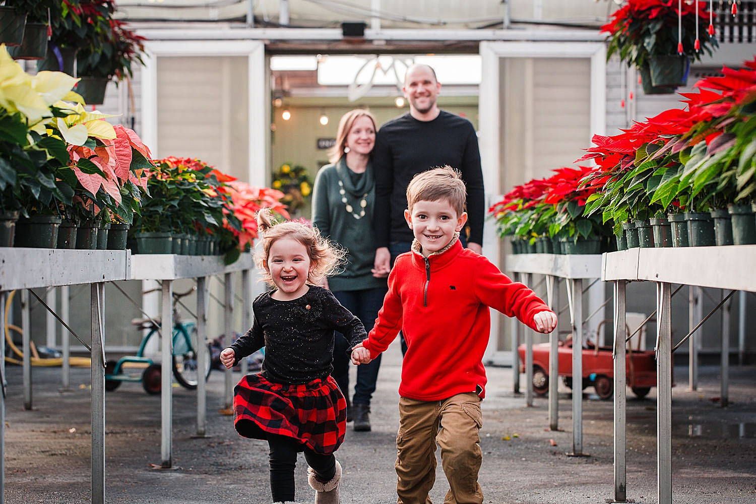 Photo of a boy and a girl holding hands and running through a greenhouse full of poinsettias.