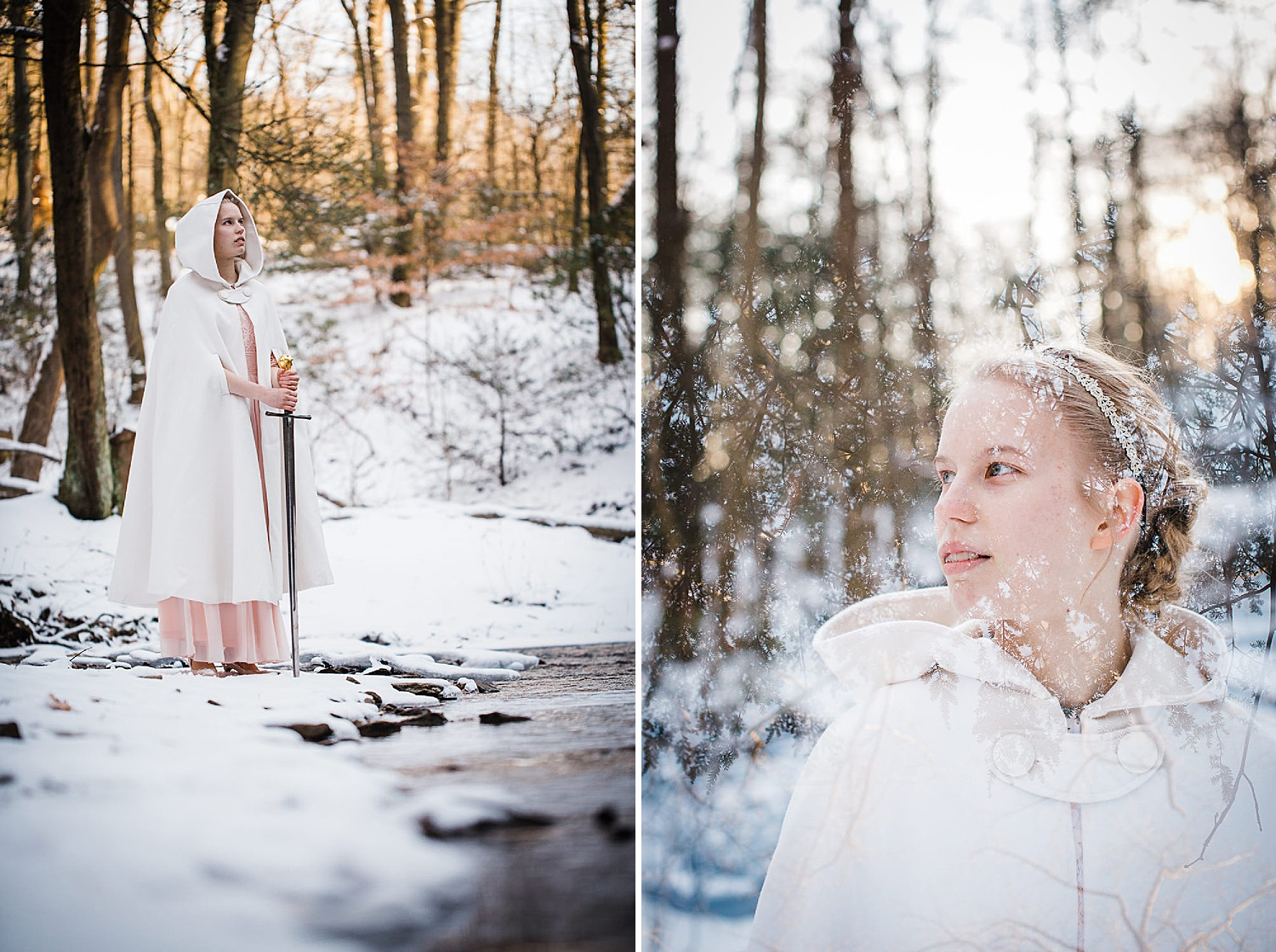 Photo of a young blonde woman in a long light pink gown and white hooded cape standing in a wintery forest.