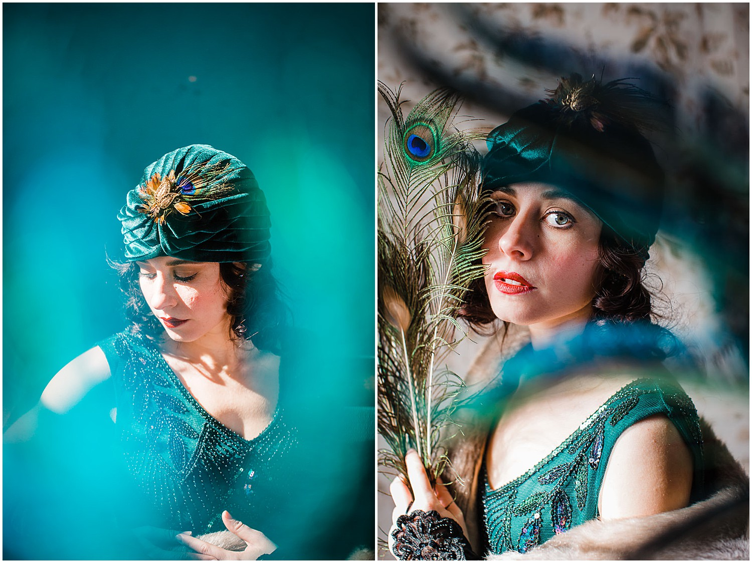 Vintage flapper peacock glamour creative portraits in Lancaster City, PA