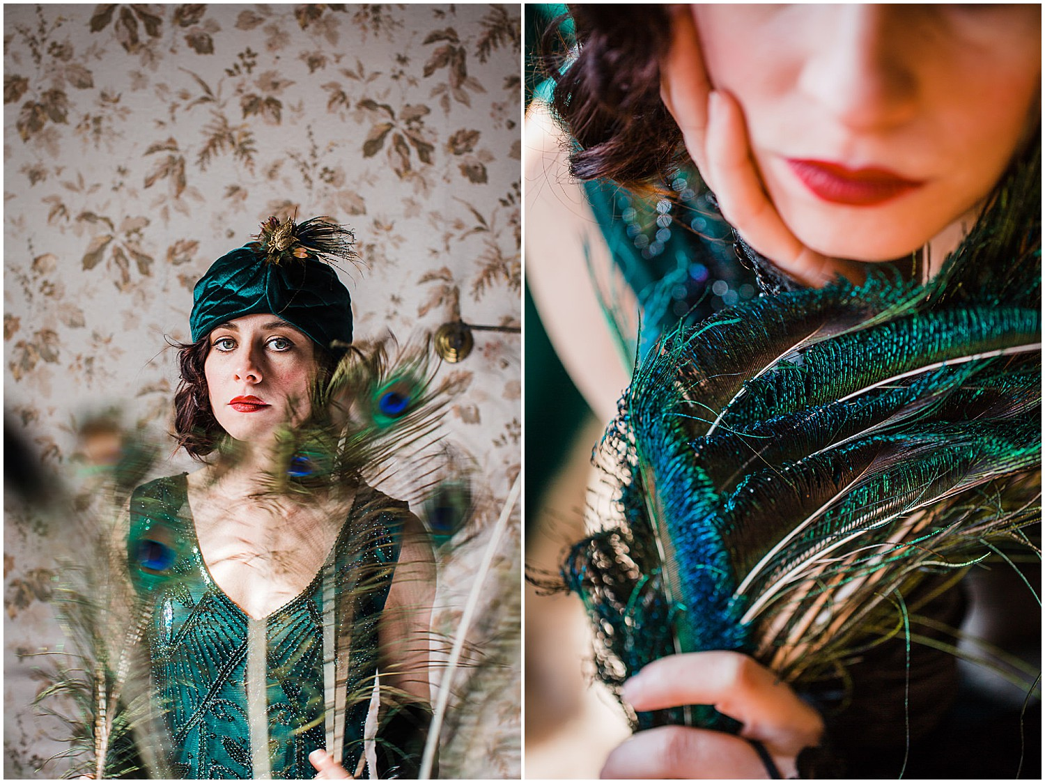 vintage flapper peacock feather glamour shot portraits in Lancaster PA