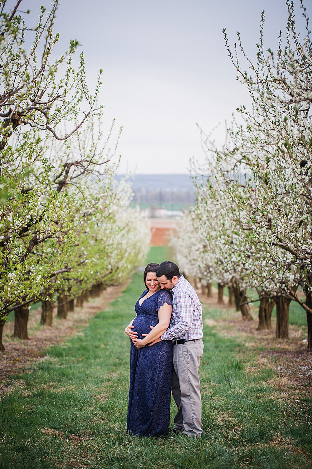 Spring maternity session in a blooming orchard Lancaster, PA