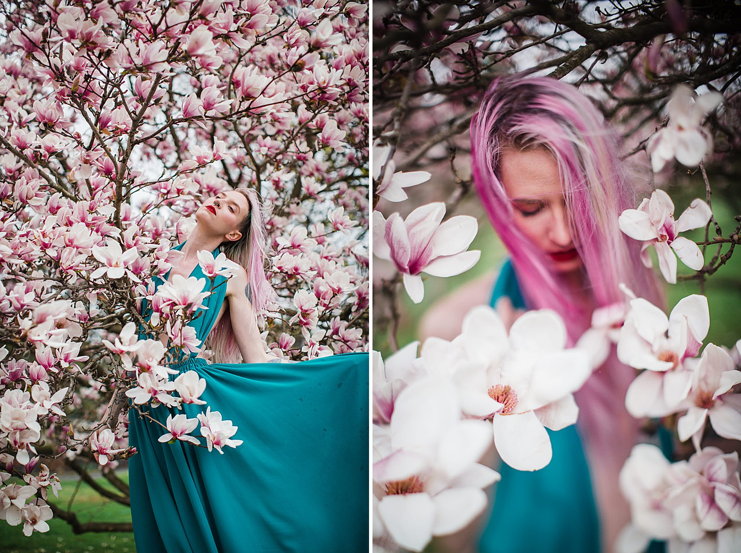 Portrait photo of a young woman with pink hair and a teal dress standing in a tree of magnolia blossoms.