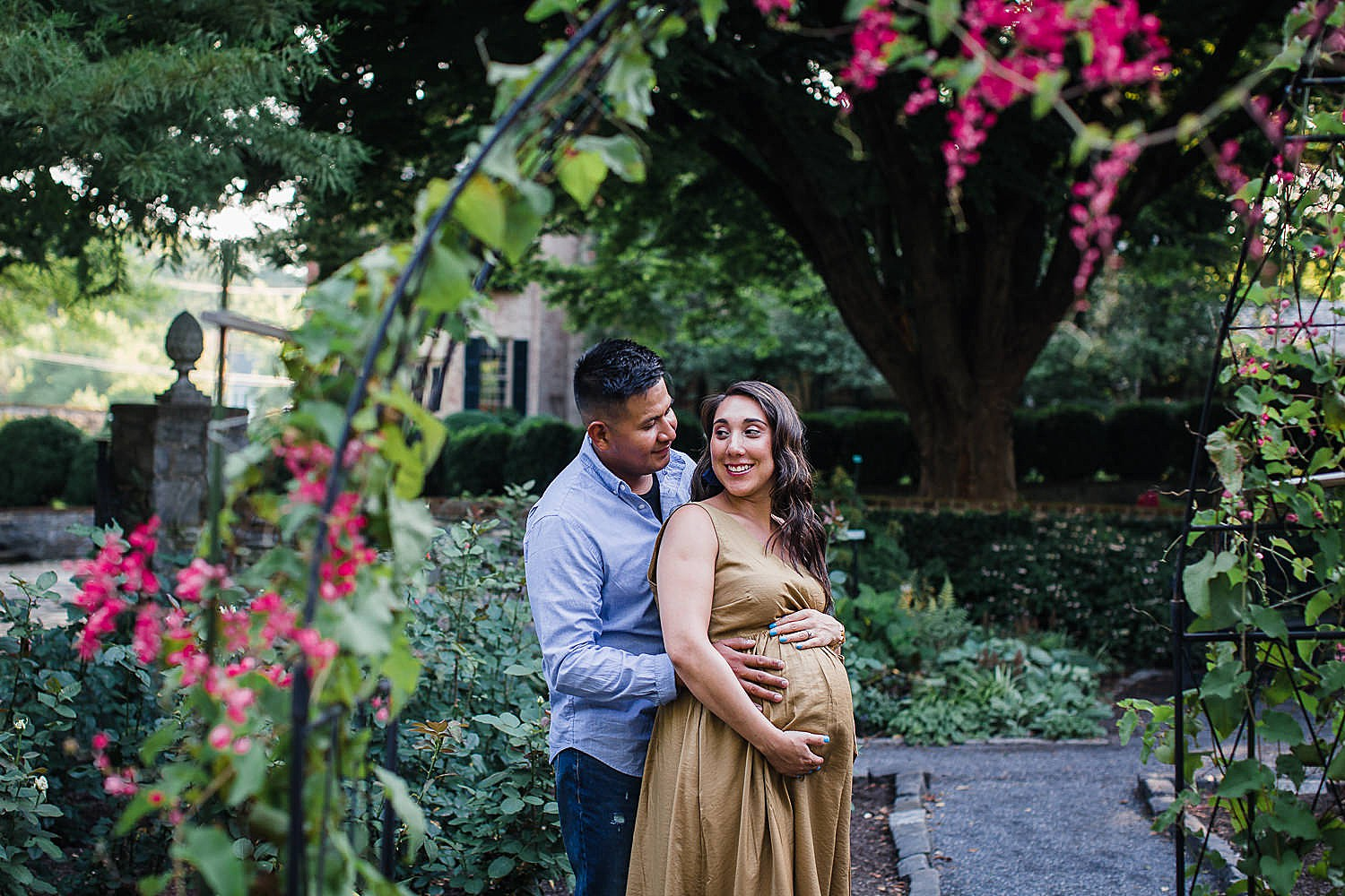 Colorful summer maternity session at the Conestoga House and Gardens in Lancaster, PA