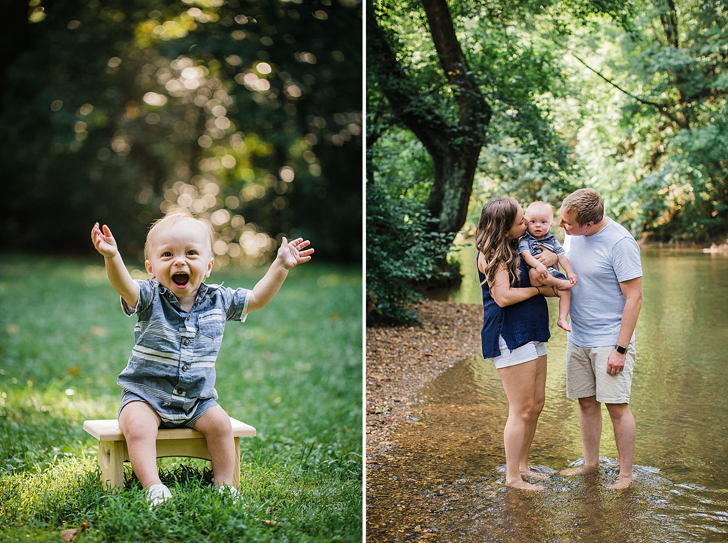 creek stomping one year photo session at Lancaster County Park