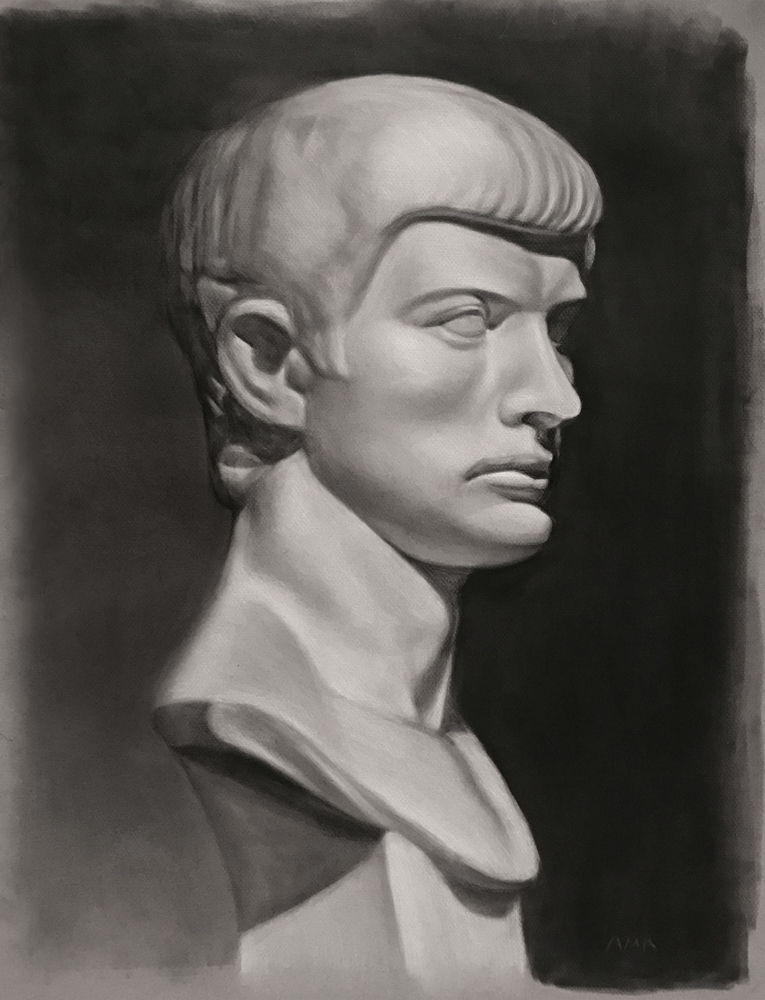 """""""David"""", charcoal on canson paper, 18""""x24"""", 2017"""