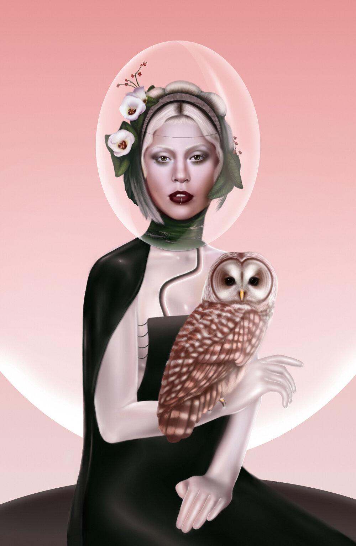 "Lady Gaga, ""Blush Sun""  Digital, 11""x17"", 2019   Illustration Award: 3x3, Creative Quarterly"