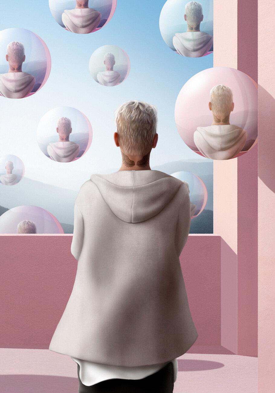 "Justin Bieber, ""Invasion""  Digital, 12""x17"", 2019   Illustration Award: American Illustration, 3x3, Creative Quarterly"