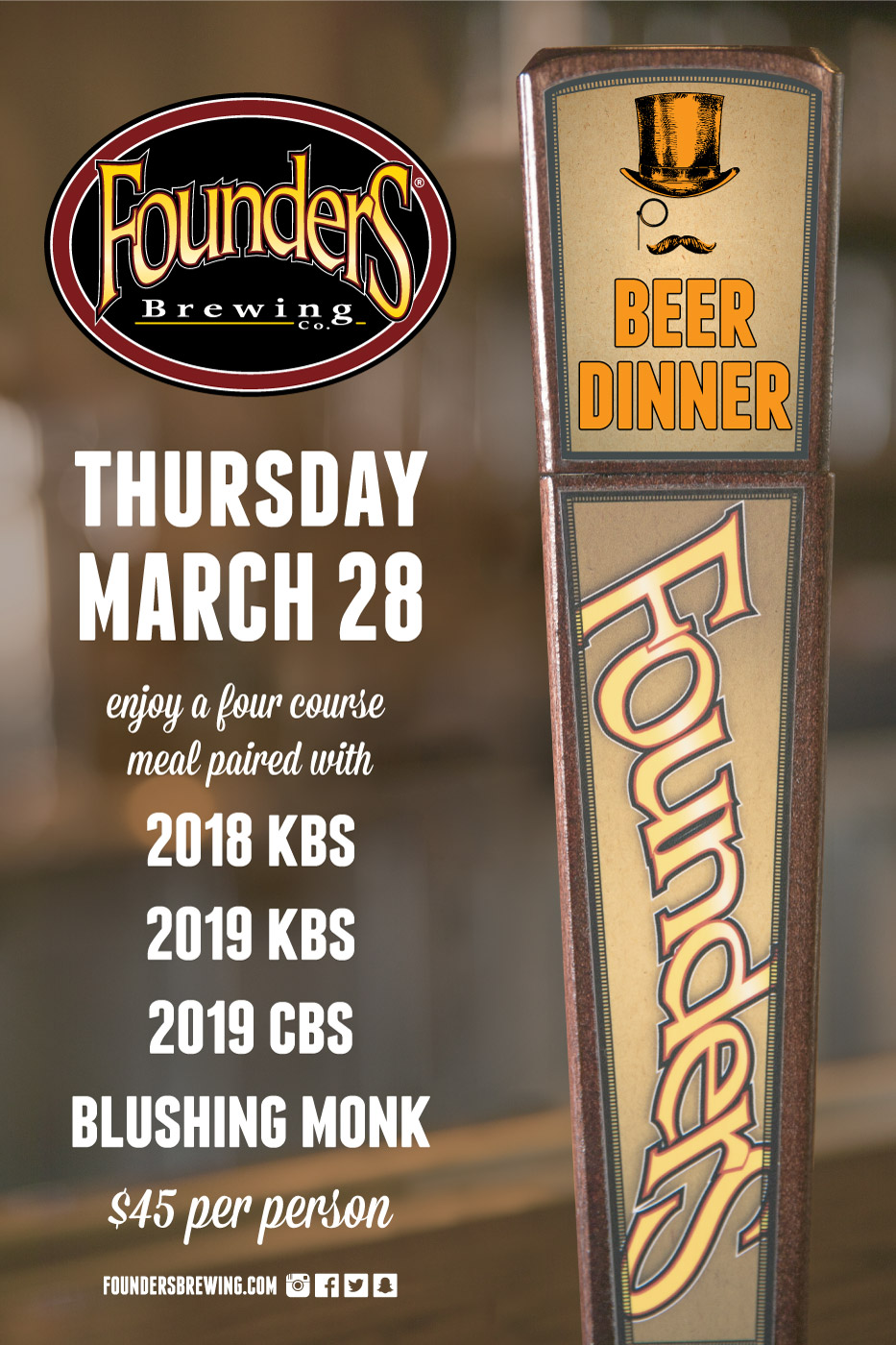 Thursday, March 28 $45 per person - Click Here for Tickets