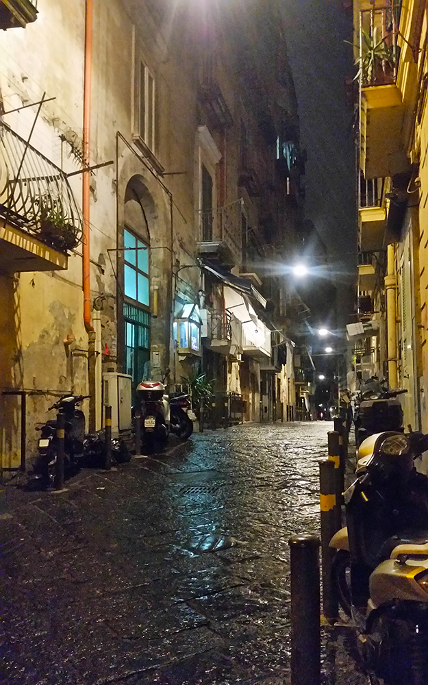 The Spanish Quarter at night.