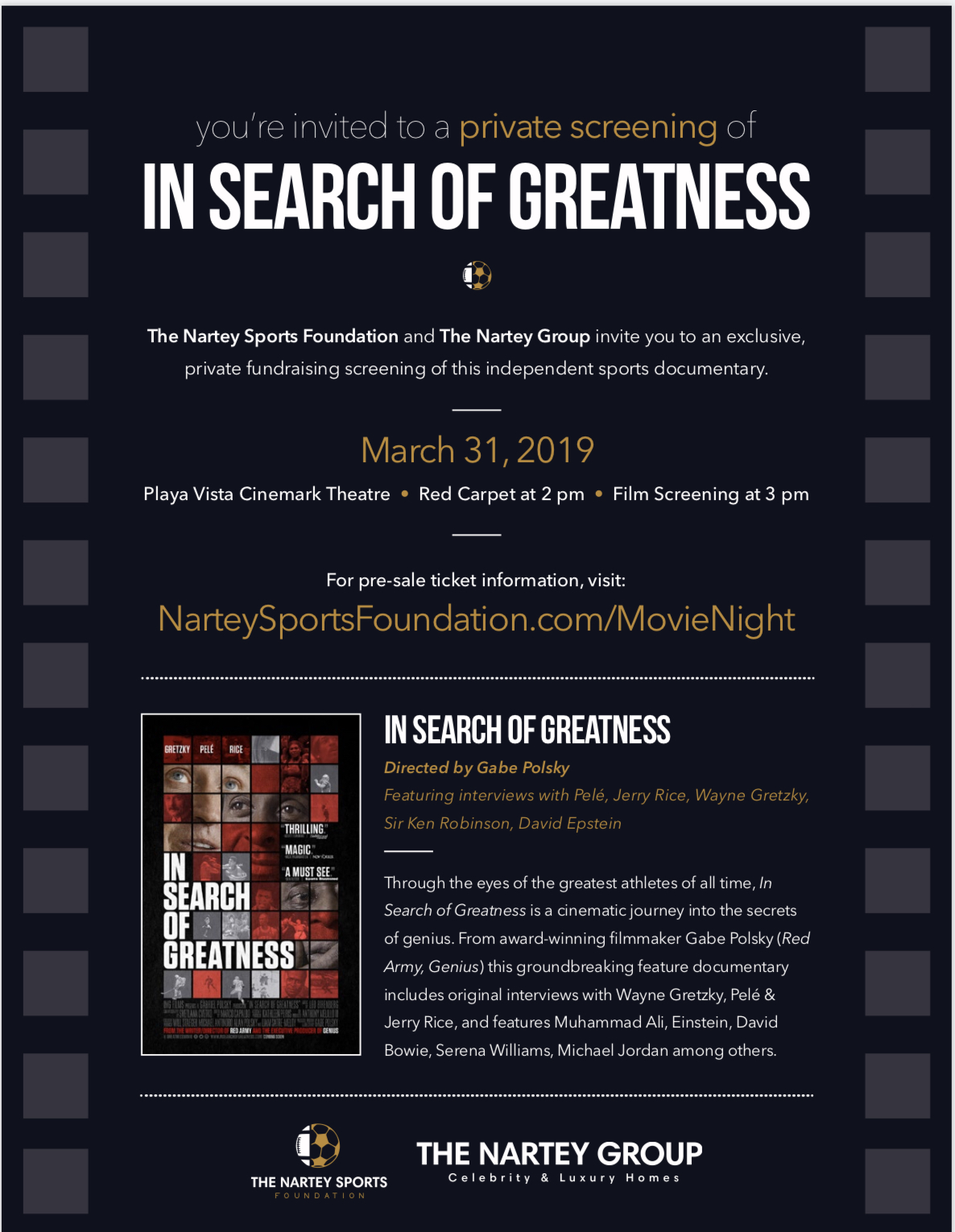 Enjoy a night of fun with a purpose at The Nartey Sports Foundation's charity film screening at Cinemark Playa Vista! - Purchase tickets now:https://www.eventbrite.com/e/in-search-of-greatness-charity-screening-tickets-58546017715