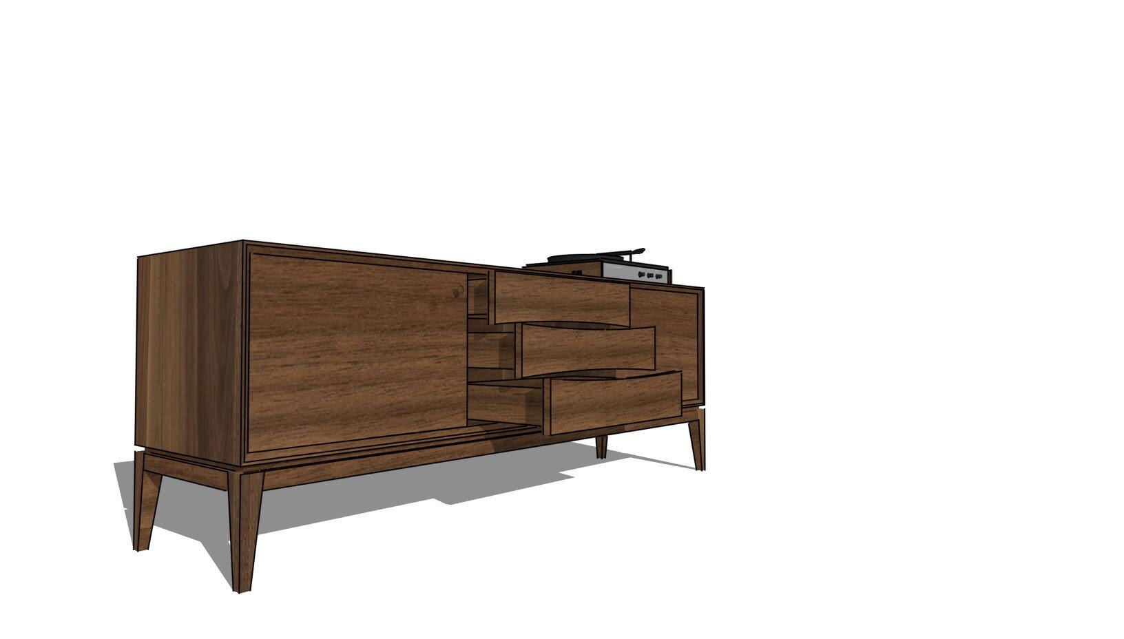 Alamo Design Co Tampa FL Custom Furniture Charity Raffle Record Console Open Drawers.jpg