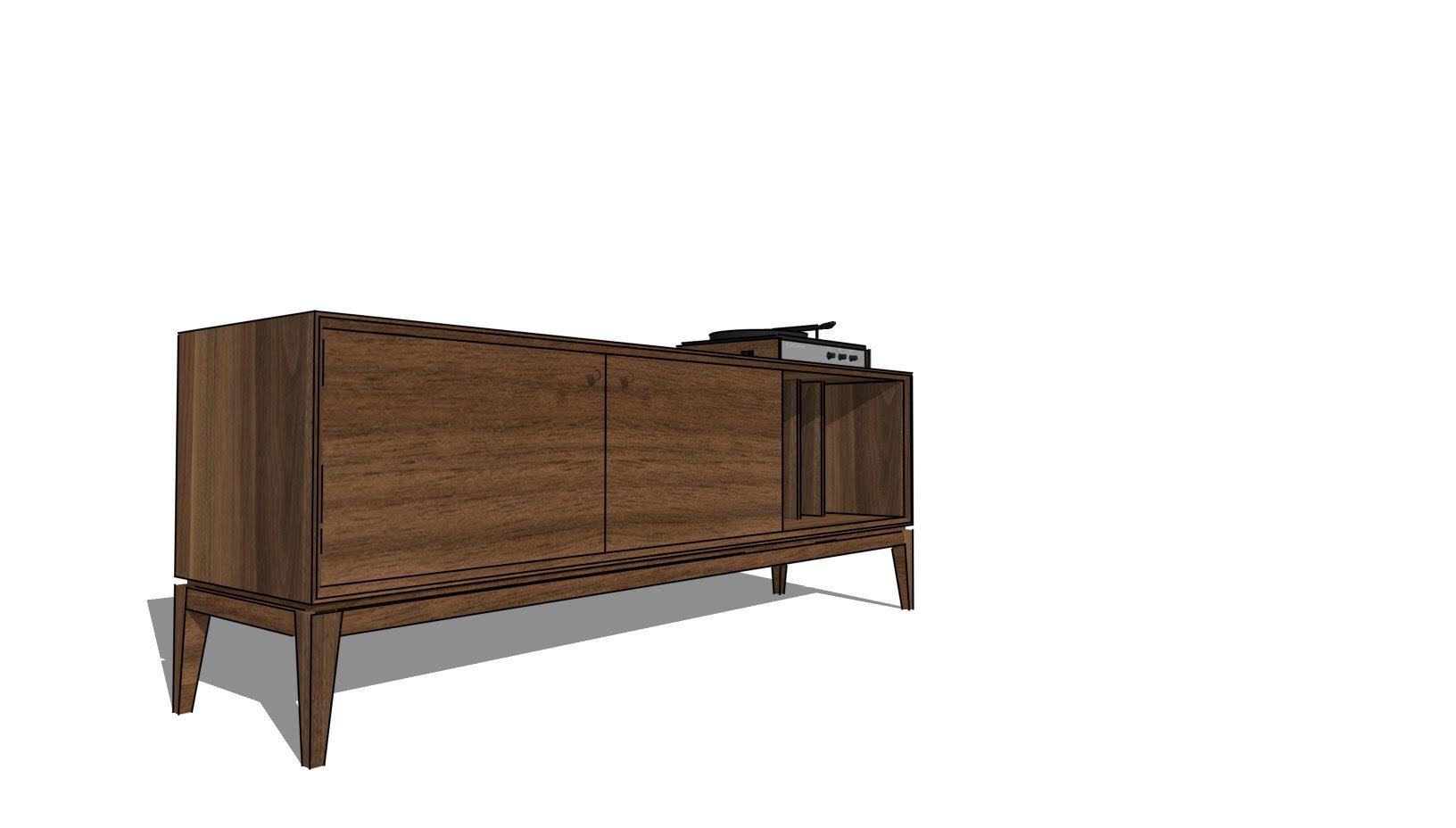 Alamo Design Co Tampa FL Custom Furniture Charity Raffle Record Console Open Right Cabinet.jpg