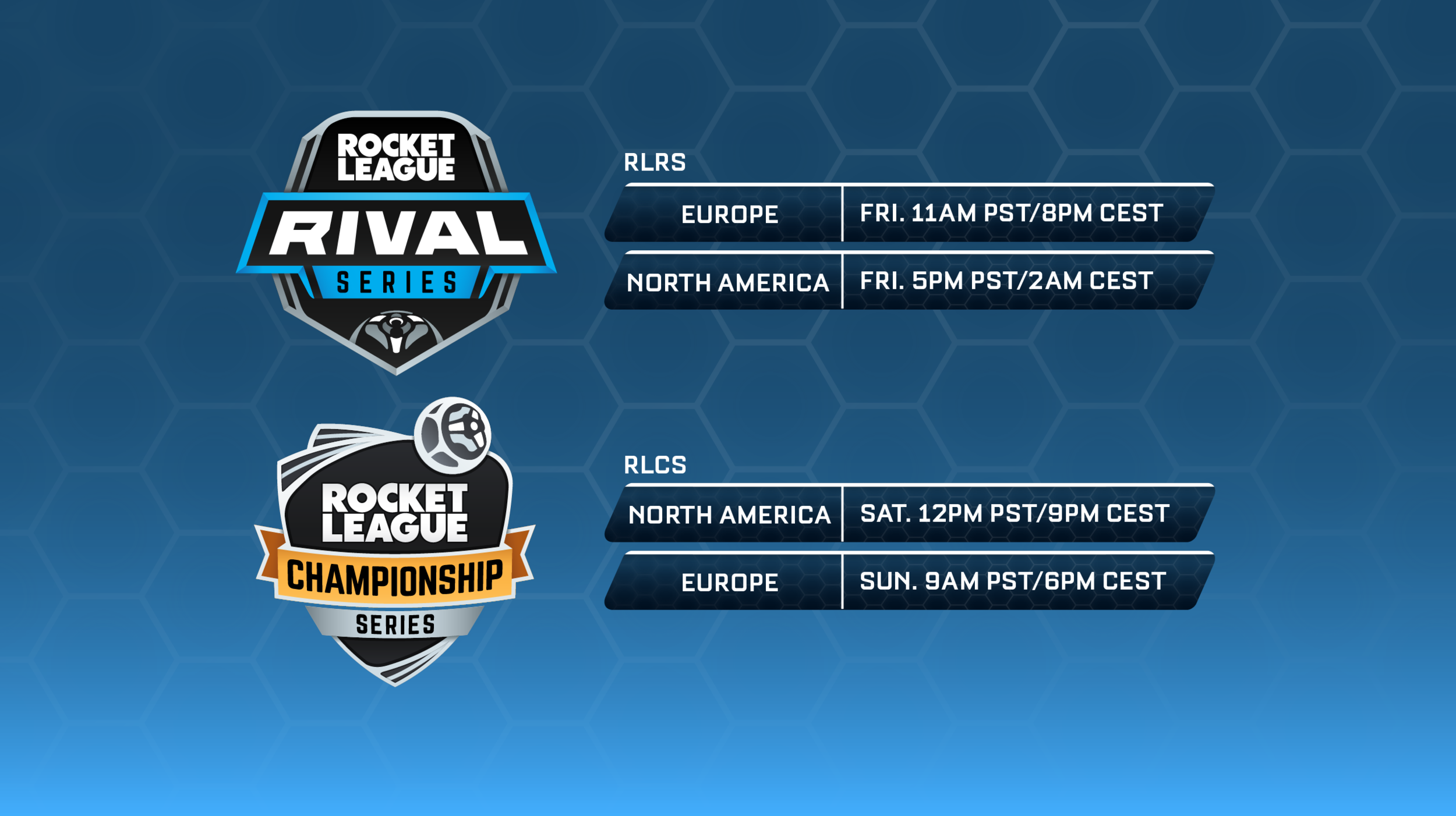 Schedule for RLRS/RLCS broadcasts