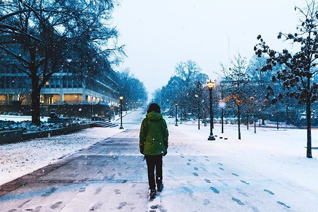 The campus @georgiatech covered in snow