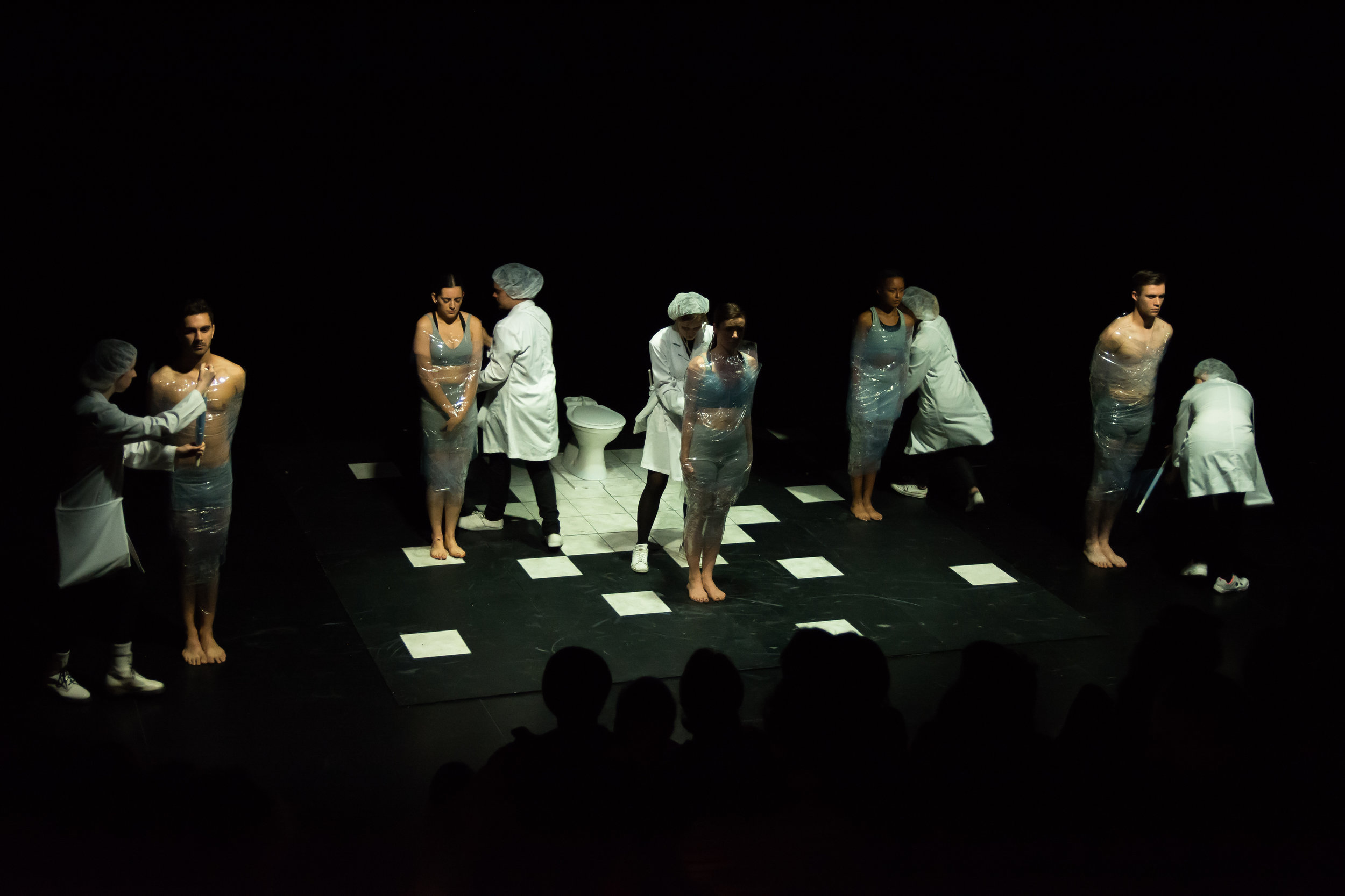 The wrapping process on stage for 'Bound'