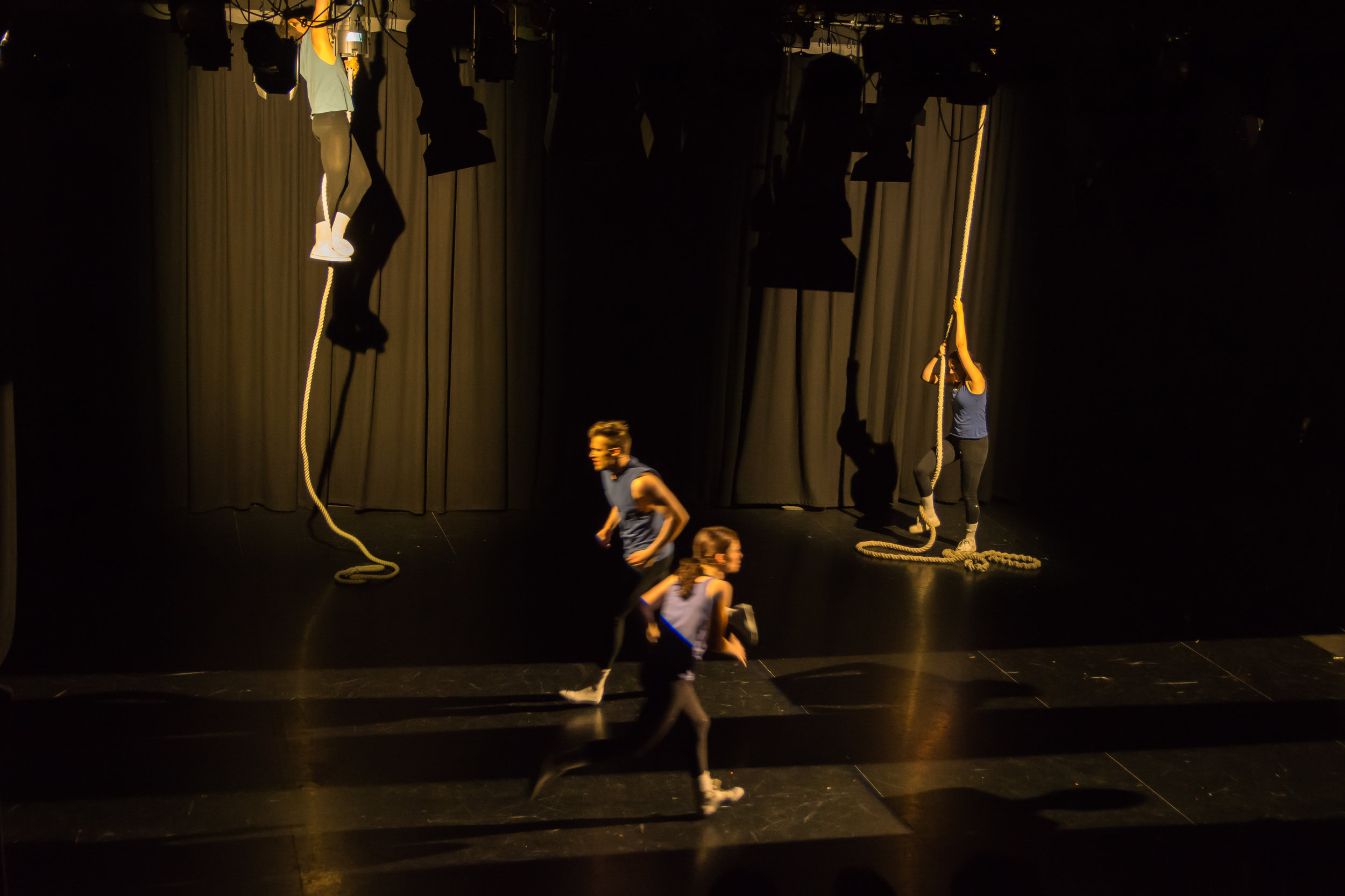 Performers struggling during the 'Endurance' vignette