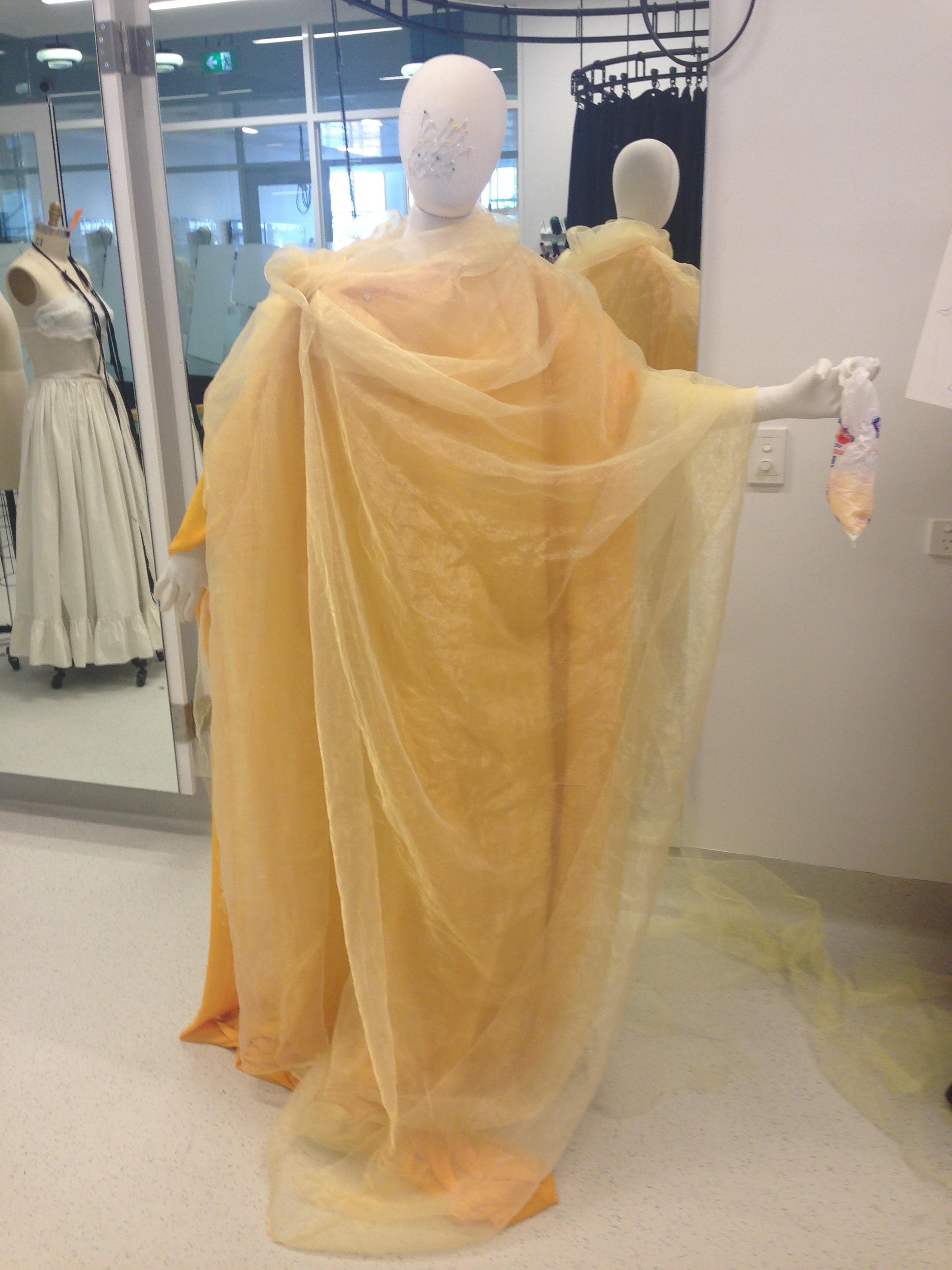 Back in the workroom on the mannequin
