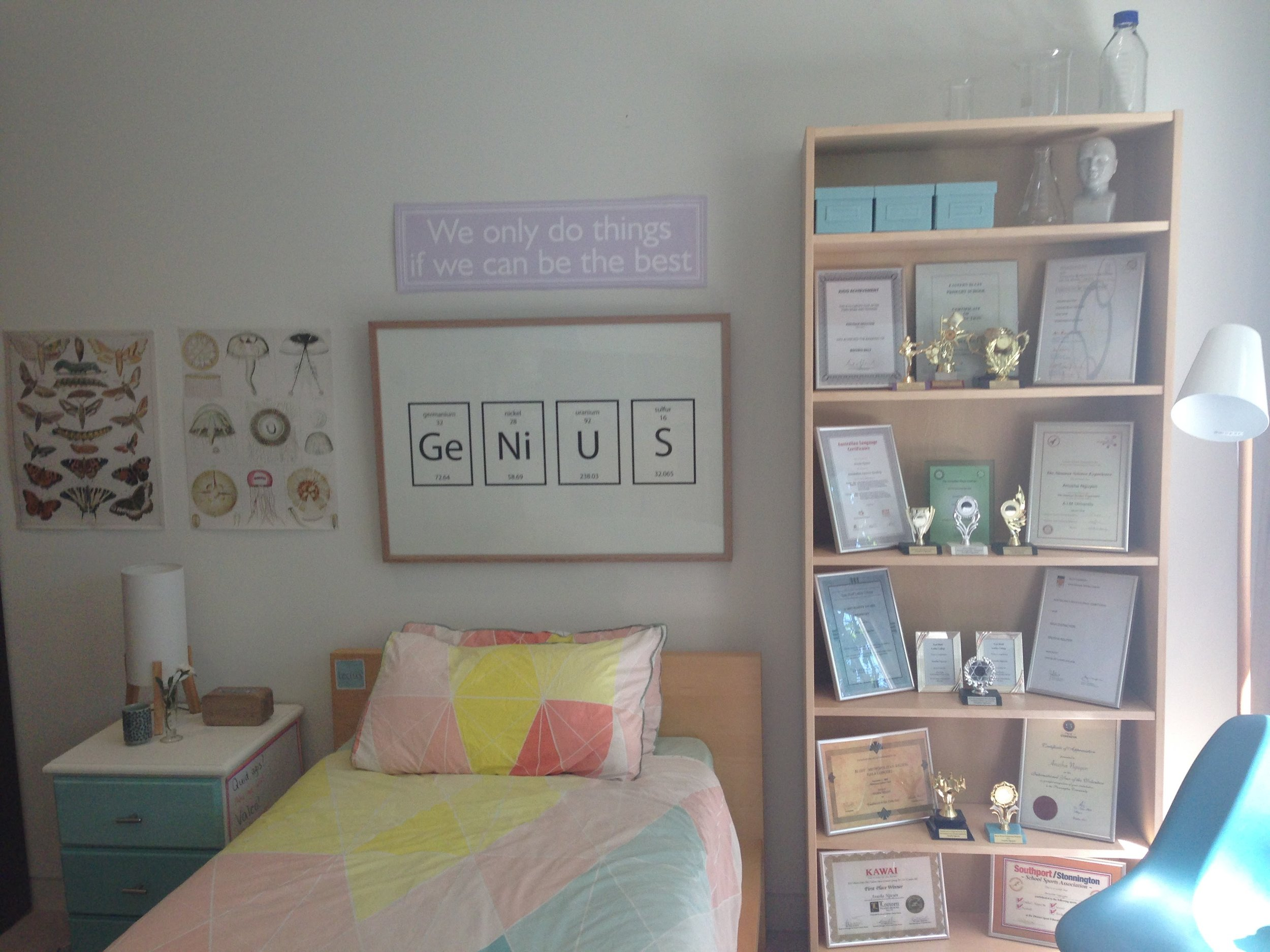 Anusha's bedroom and all of her certificates.