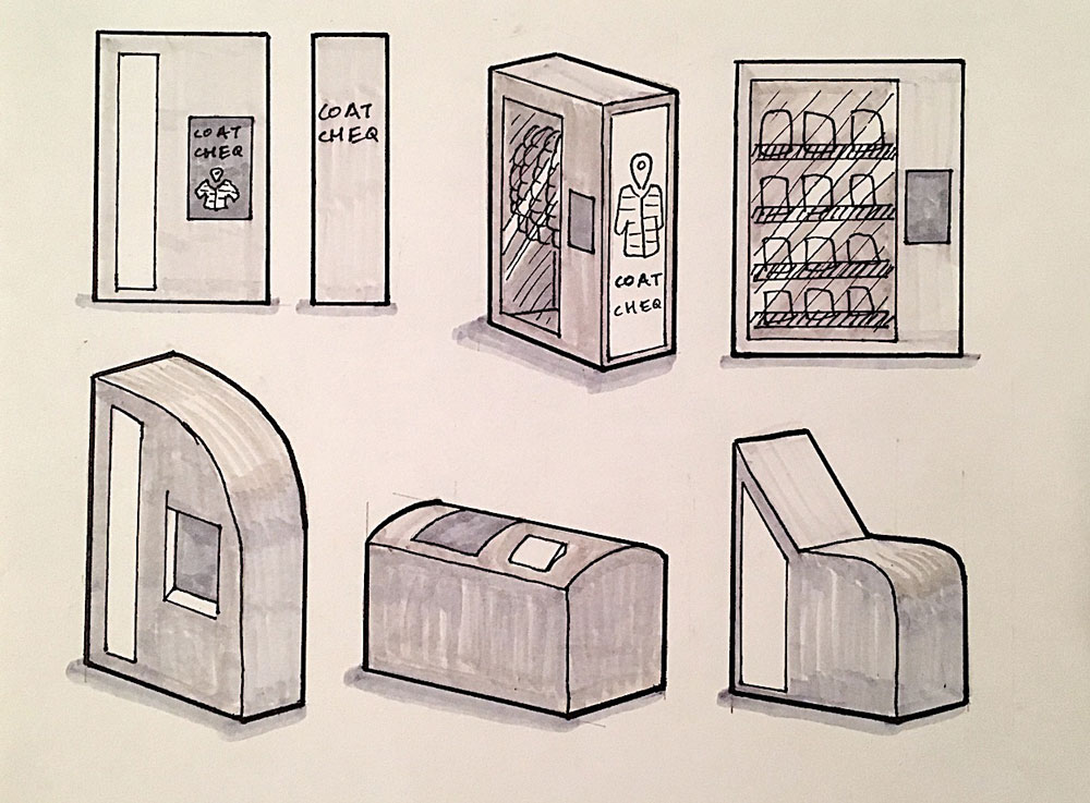 PHYSICAL TOUCHPOINT: I had completed the design for the locker screen, but I needed to design the form factor for locker itself. I iterated on designs until I found a form that balanced the user and business needs I had uncovered earlier in the project.