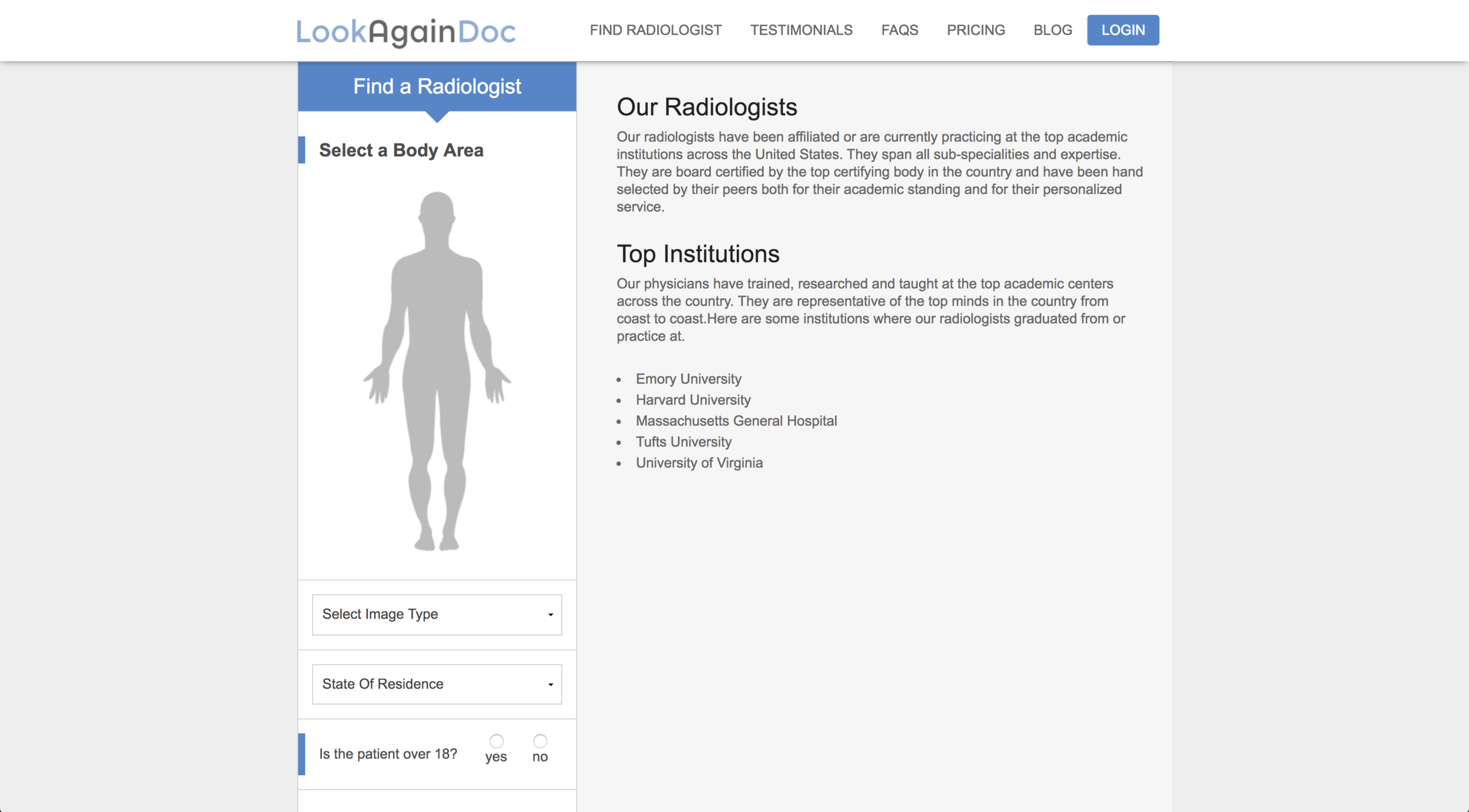 Find Radiologist Page w/ jQuery body selection map