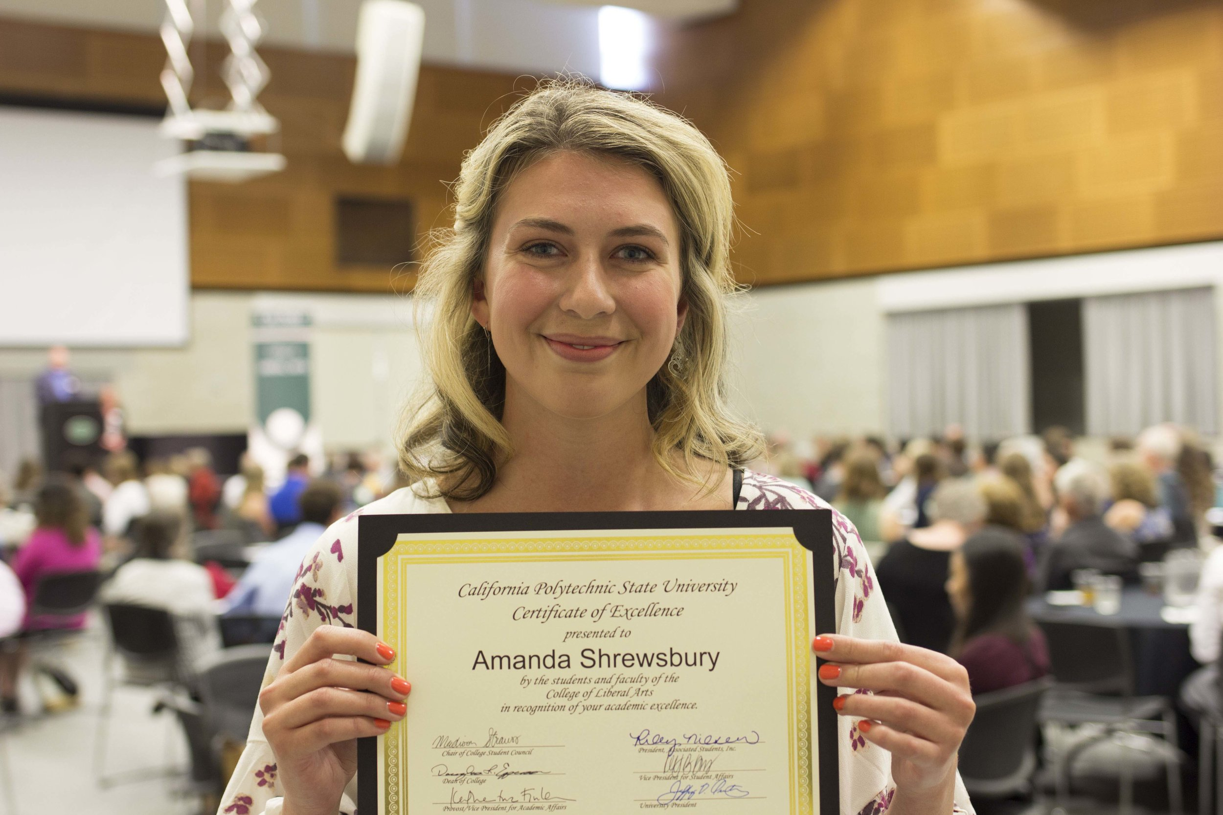Lab Manager, Amanda Shrewsbury, Recognized with Outstanding Senior in Child Development & Academic Excellence Award at Graduation 2018