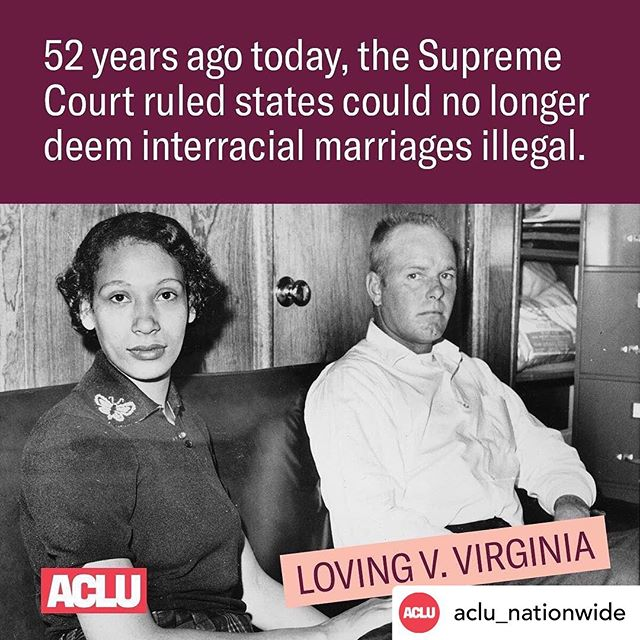 The fight for marriage equality is long and enduring. May we take this #LovingDay to reflect on Mildred and Richard Loving's contributions to the civil rights that we have today. #BlackLivesMatter #loveislove #pride  Credit: @aclu_nationwide