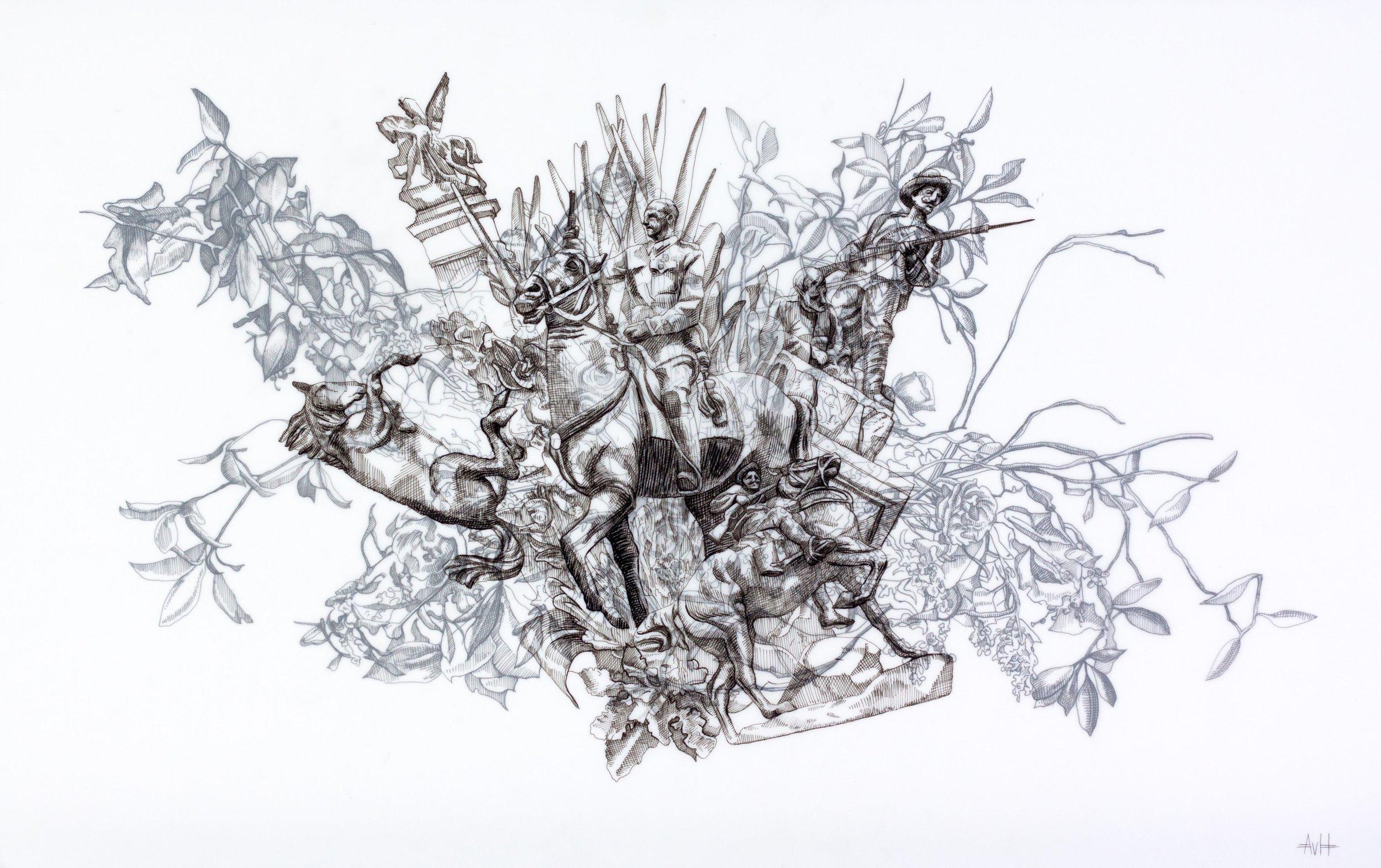 Effigy, Ink on Drafting Film, 37.5 x 59 cm