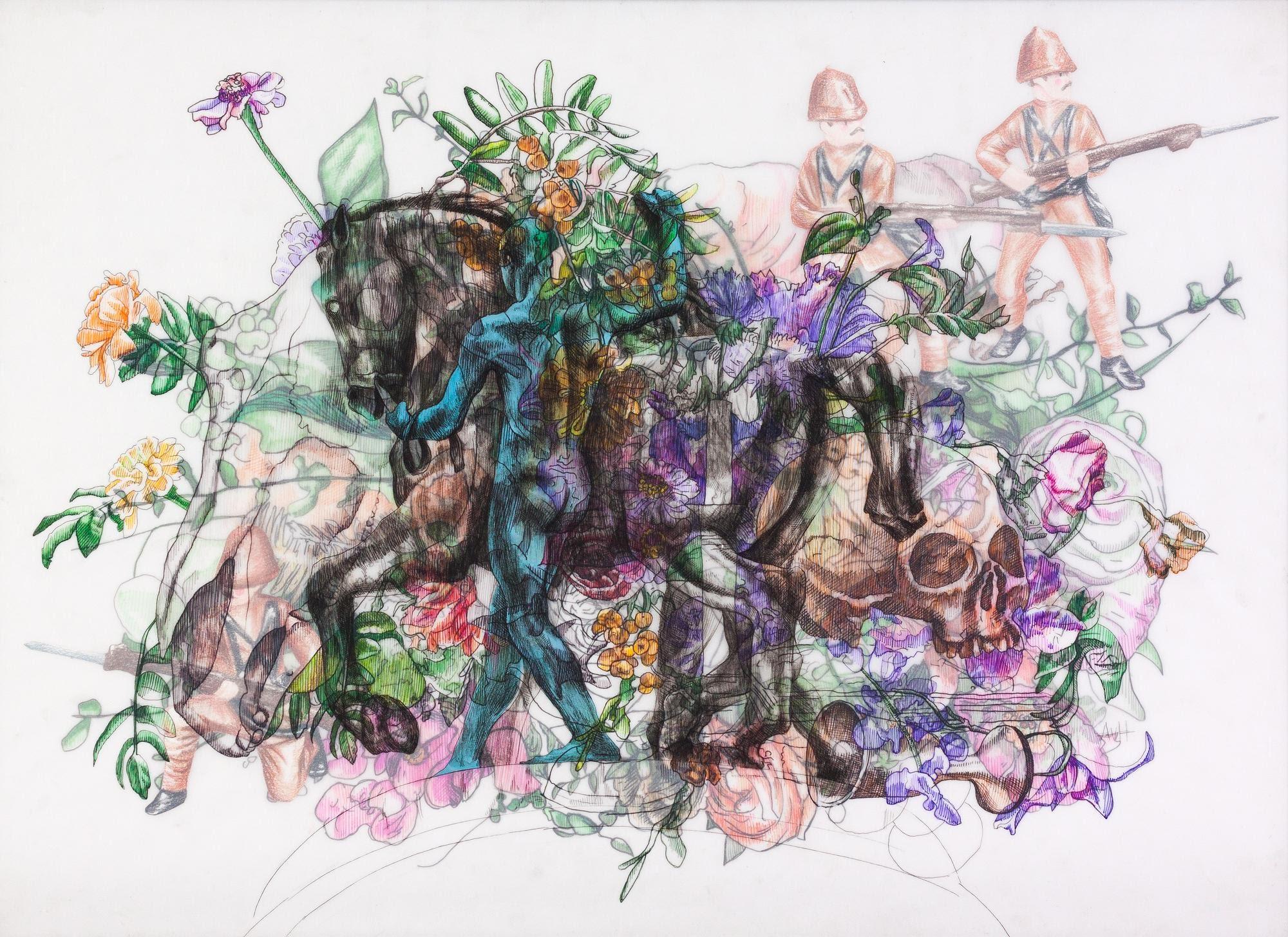 Zeitgeist, Ink, Charcoal, Gouache, Pencil on Tracing Paper, 42 x 58 cm