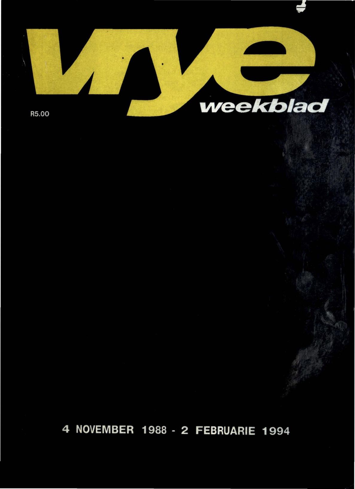 Die voorblad van die laaste uitgawe van  Vrye Weekblad .