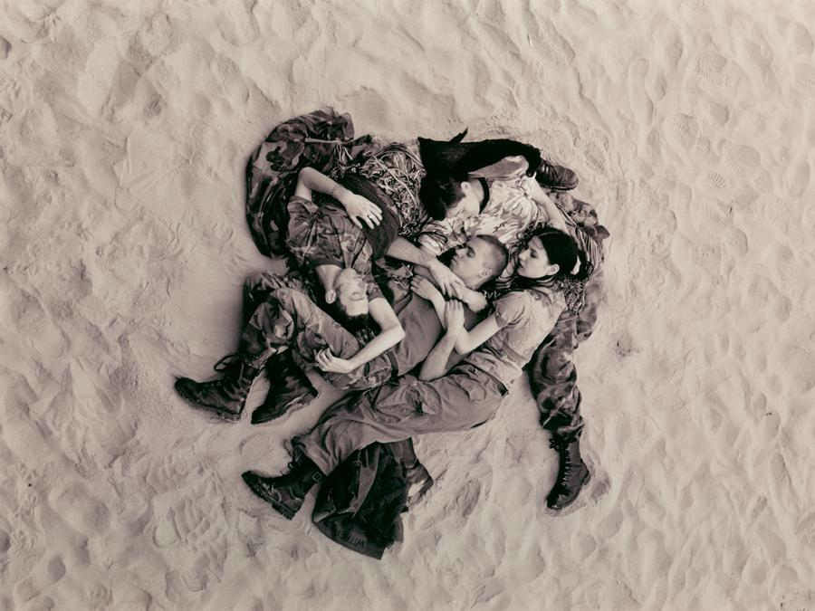 Wolfgang Tillmans,  Lutz, Alex, Suzanne & Christoph on beach (b/w) , 1993