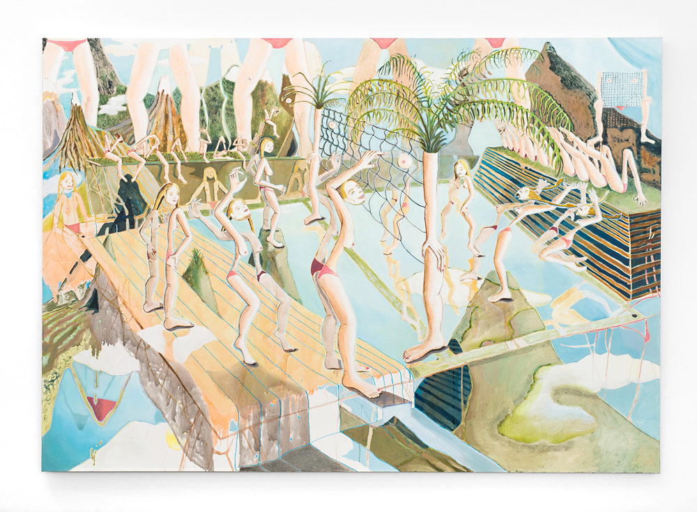Marlene Steyn,  Sis Versus Sisters , 2017, Oil and Mixed Media on Canvas, 190 x 277 cm