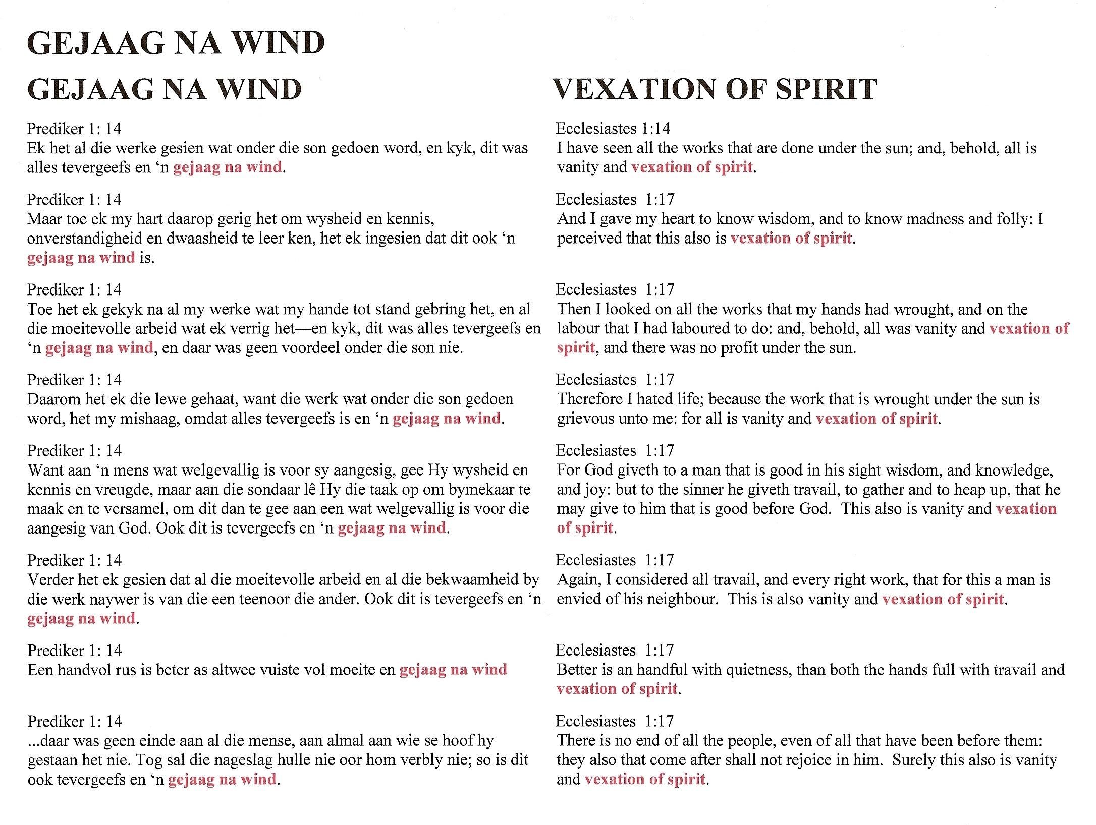 Teks van  Gejaag na Wind