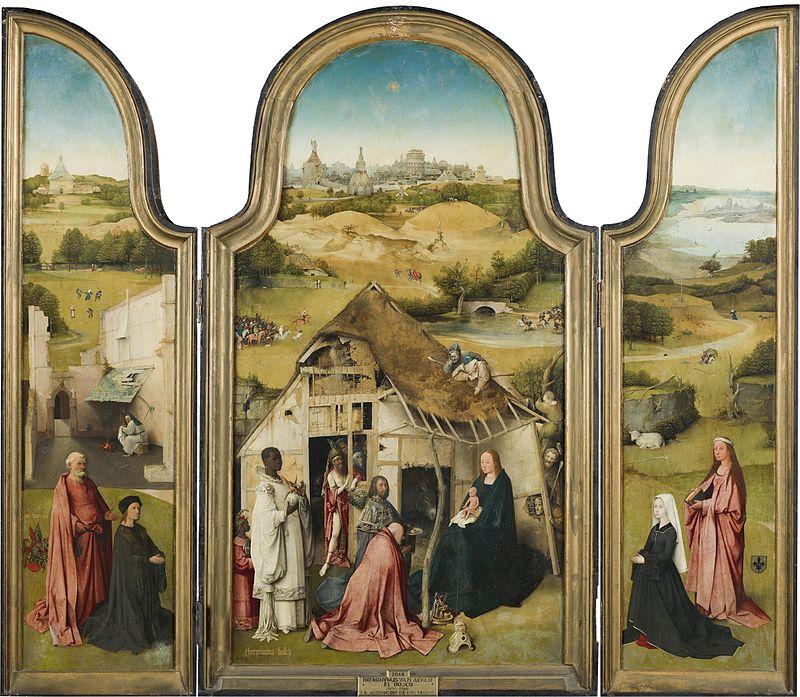Jheronimus Bosch,  Die aanbidding deur die wyse manne  (c. 1485-1500), triptiek