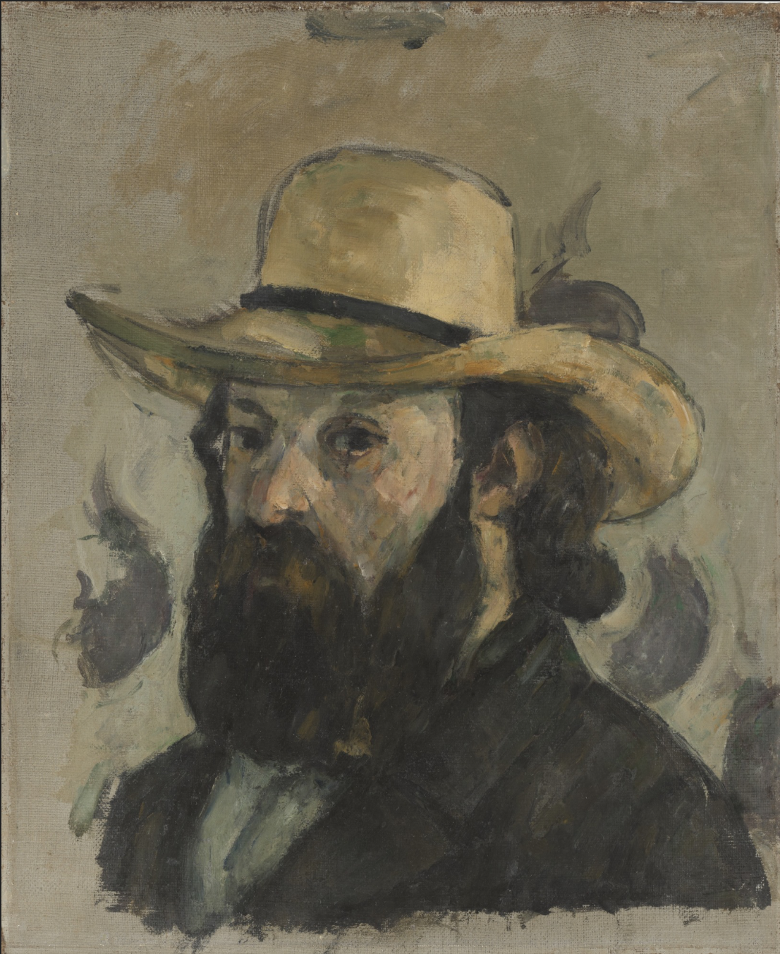 Paul Cézanne,  Self-Portrait in a Straw Hat  (1875-1876)