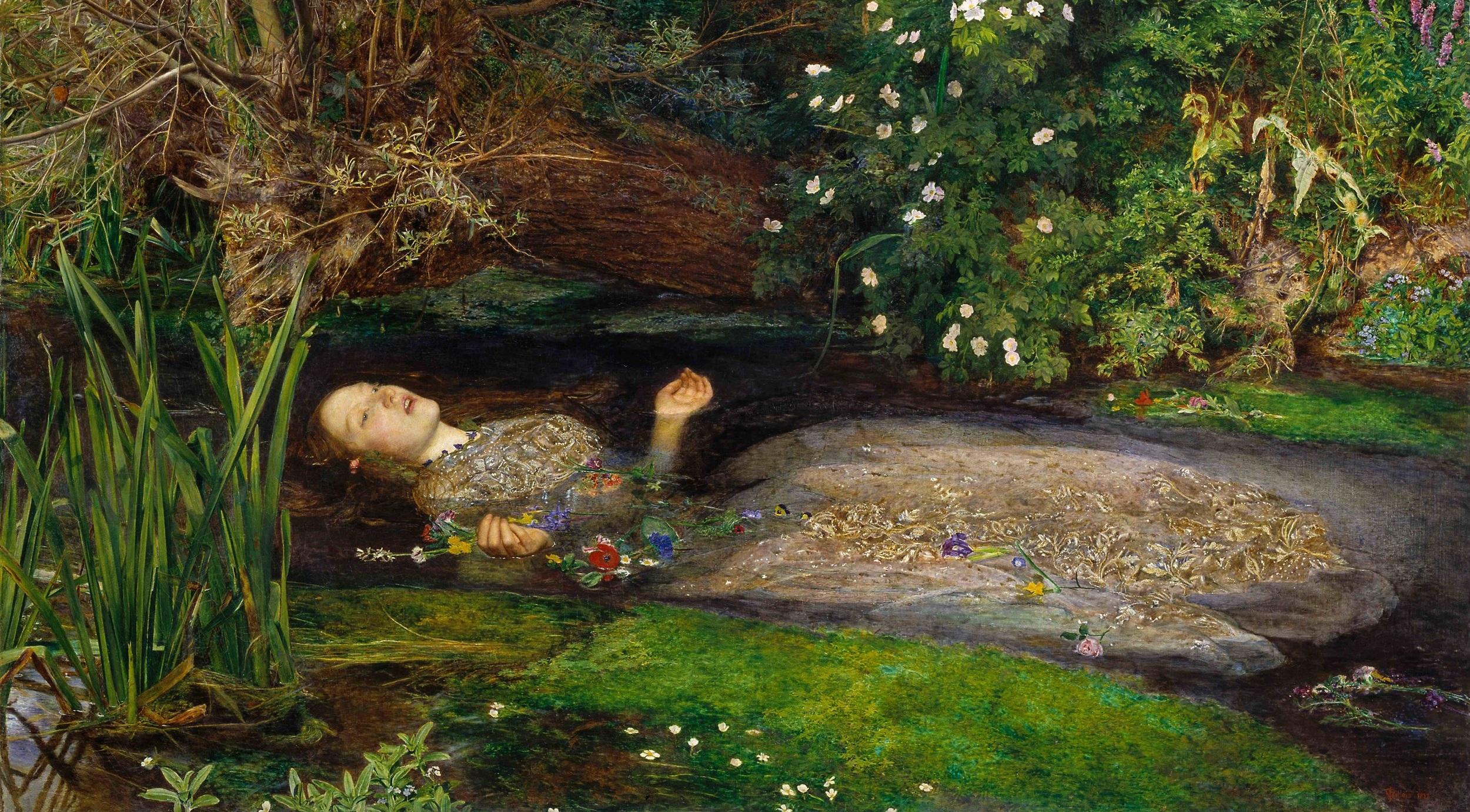 John Everett Millais,  Ophelia  (1851–1852), detail