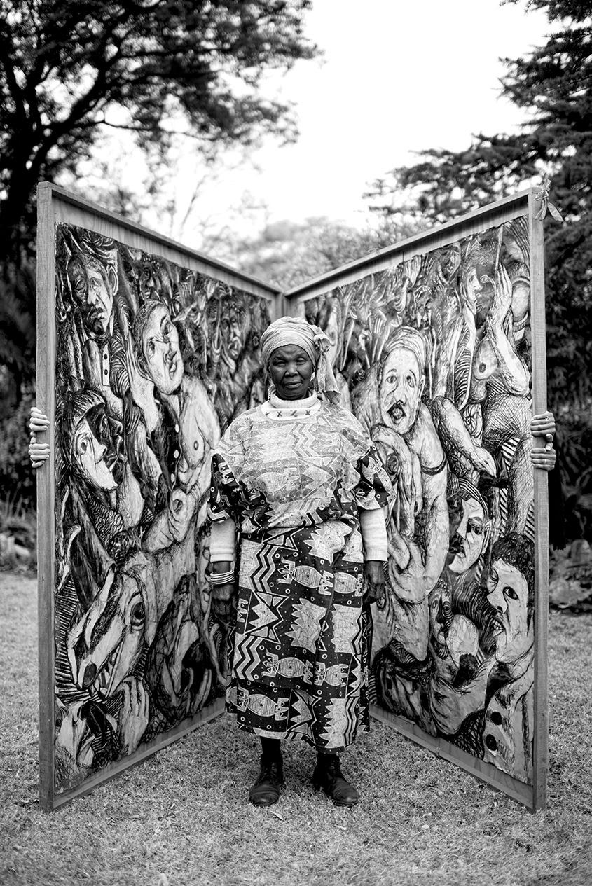 Fotograaf Adrian Steirn se portret van die kunstenaar omring deur haar bekendste werk  Tears of Africa  (1978 - 1988), as deel van die  21 Icons -reeks.