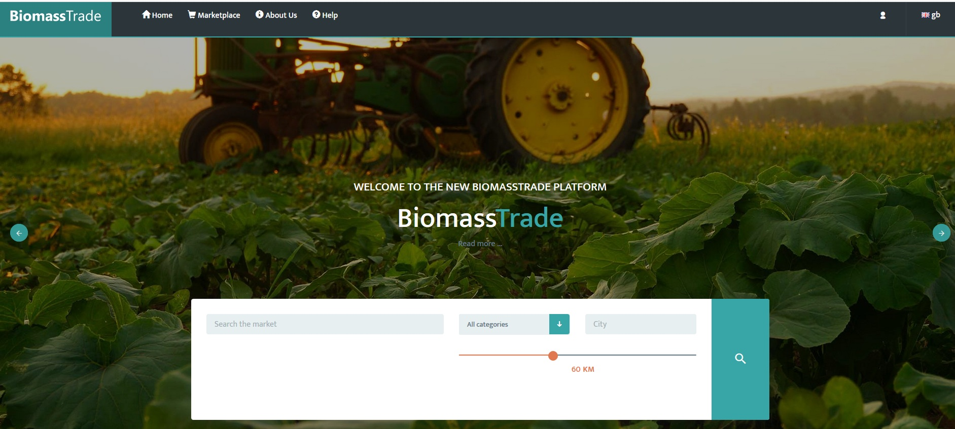 Copy of Start page of the BiomassTrade Platform.