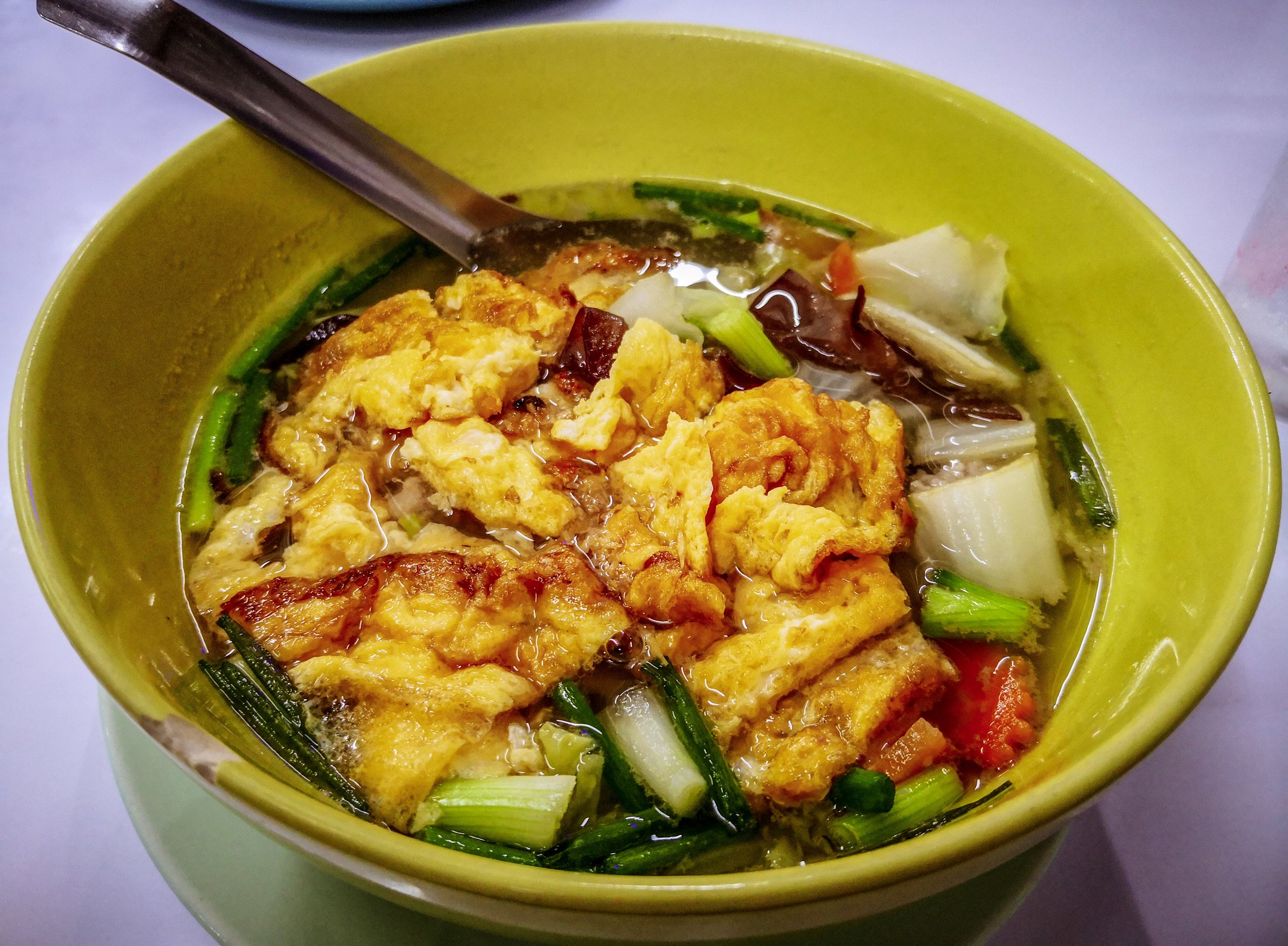 Egg Soup - That was a weird one. Actually it's vegetable soup with sliced omelette in it