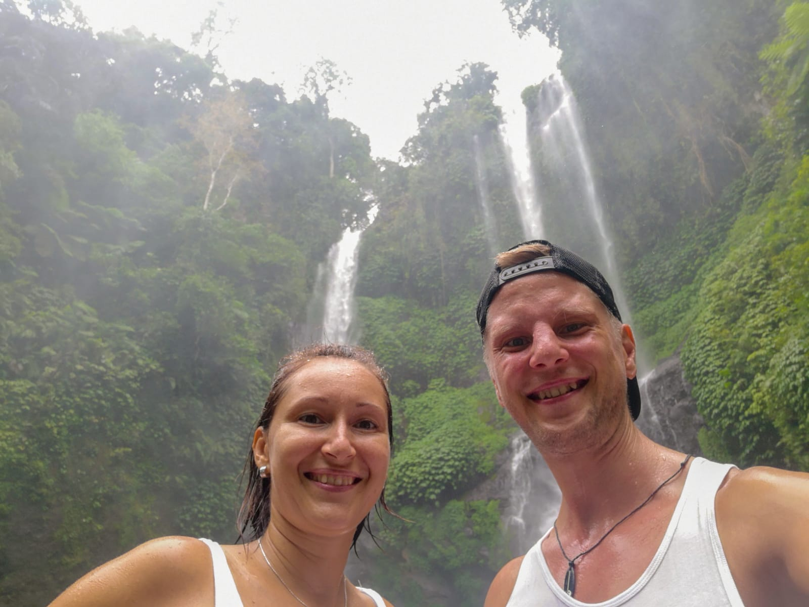 Freshening up in waterfalls
