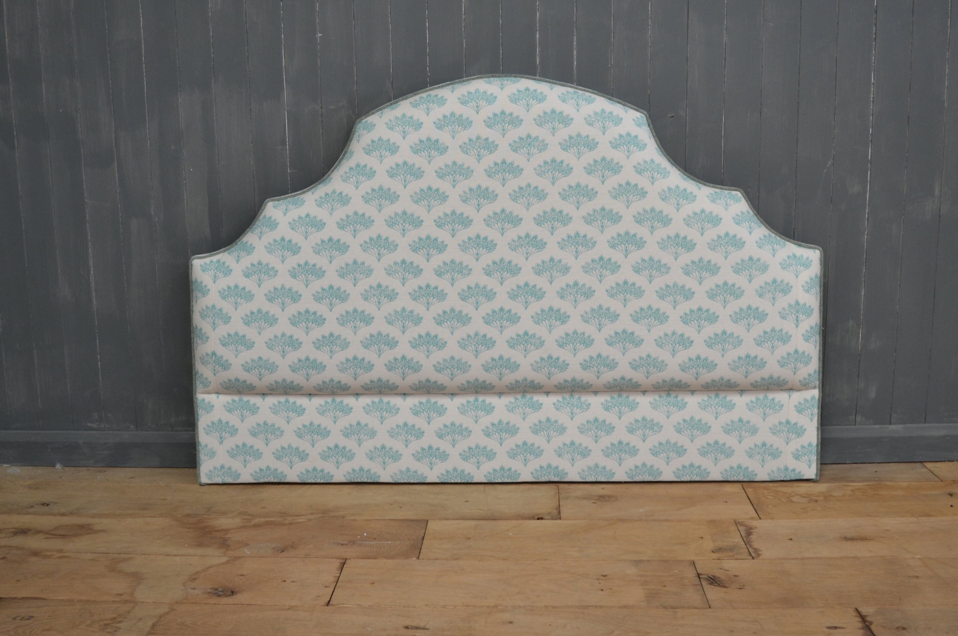 Bespoke Upholstered Headboard, contrast piped.