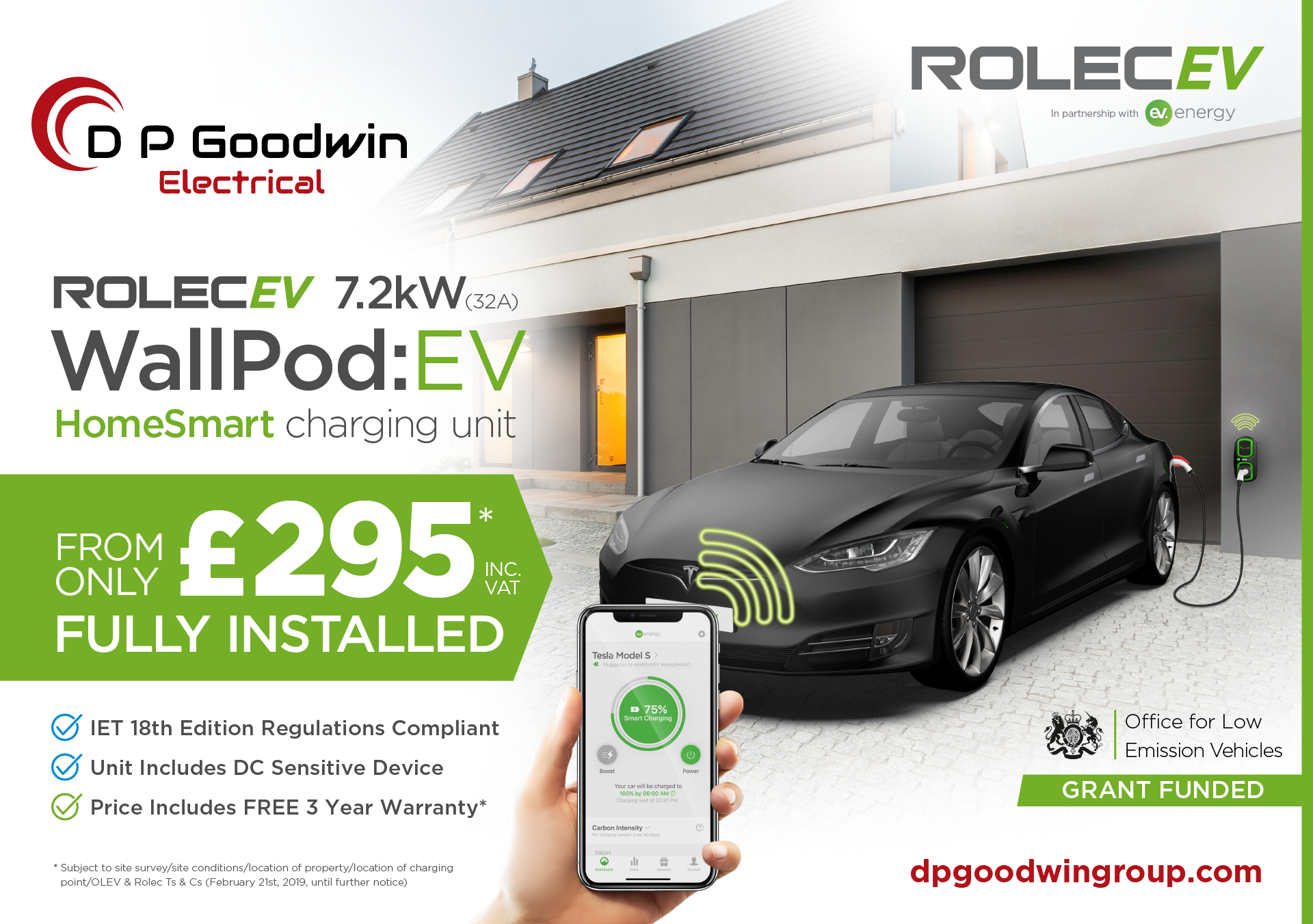 DP Goodwin Group - Electrical - OLEV HomeSmart Charge Point £295 IET 18th Edition - Social Media Graphic.png