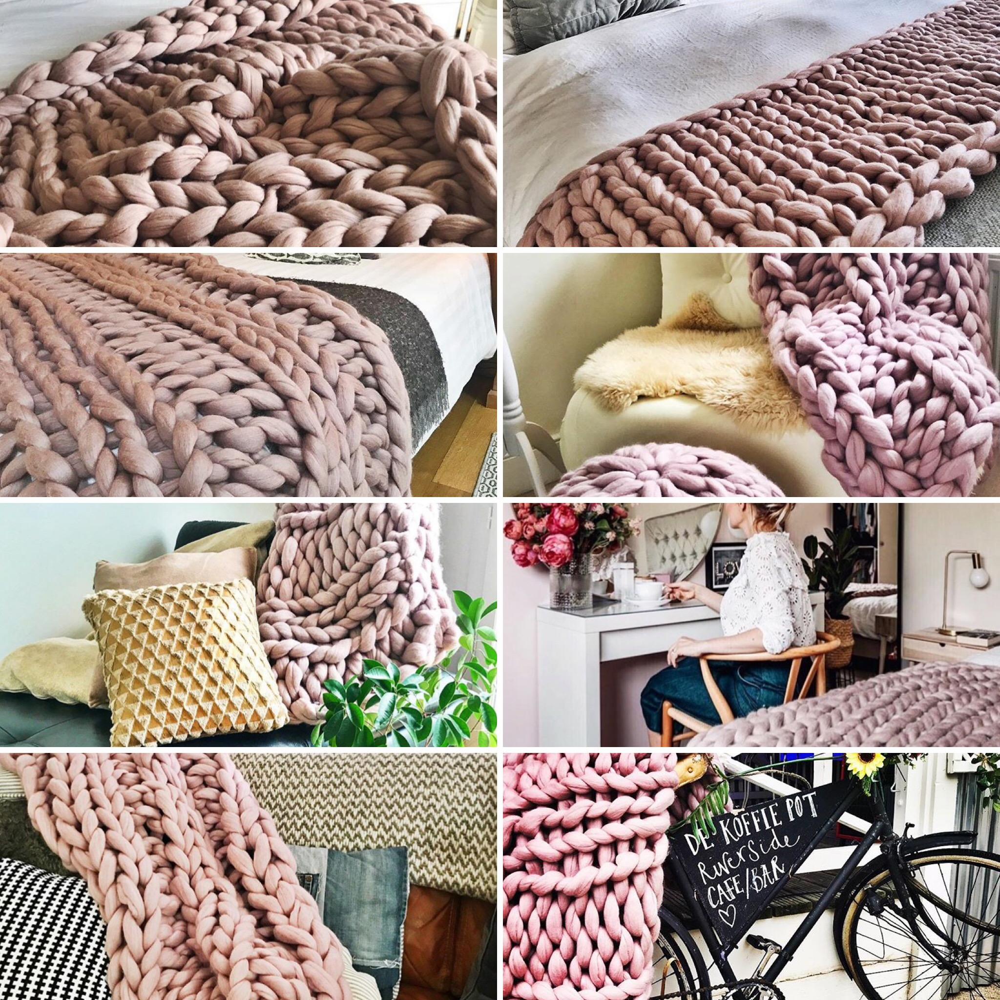 Mink Coloured Chunky Knit Blankets