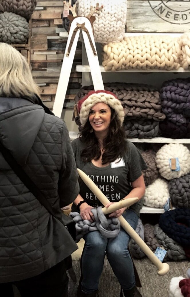Henley-on-Thames, Stonor Park Christmas Showcase November 2018. See I told you I love whipping out my needles and having a chat.
