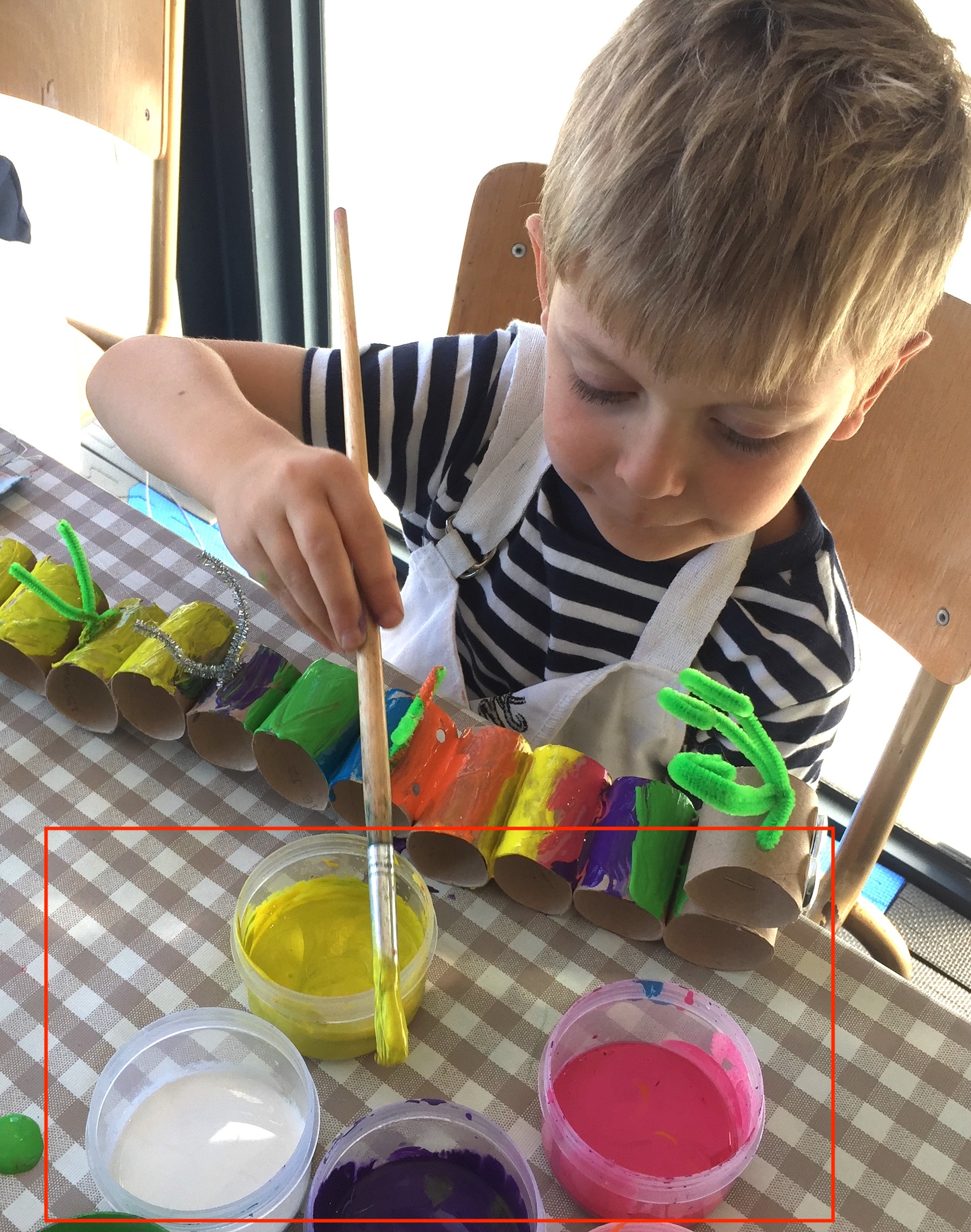3. POUR LIQUID TEMPERA/ SCHOOL PAINT INTO SMALL PLASTIC CONTAINERS WITH LIDS -