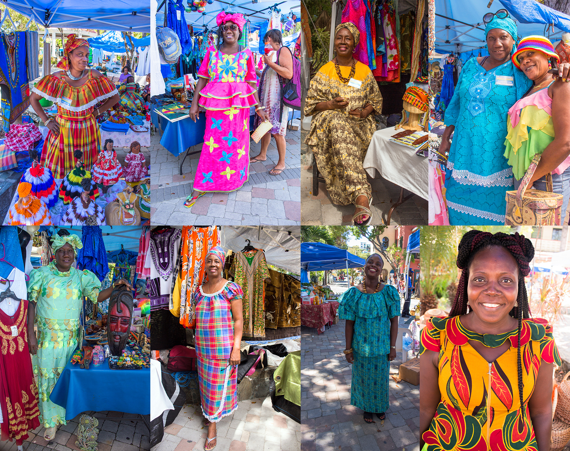 A collection of exhibitors in the park wearing traditional dress