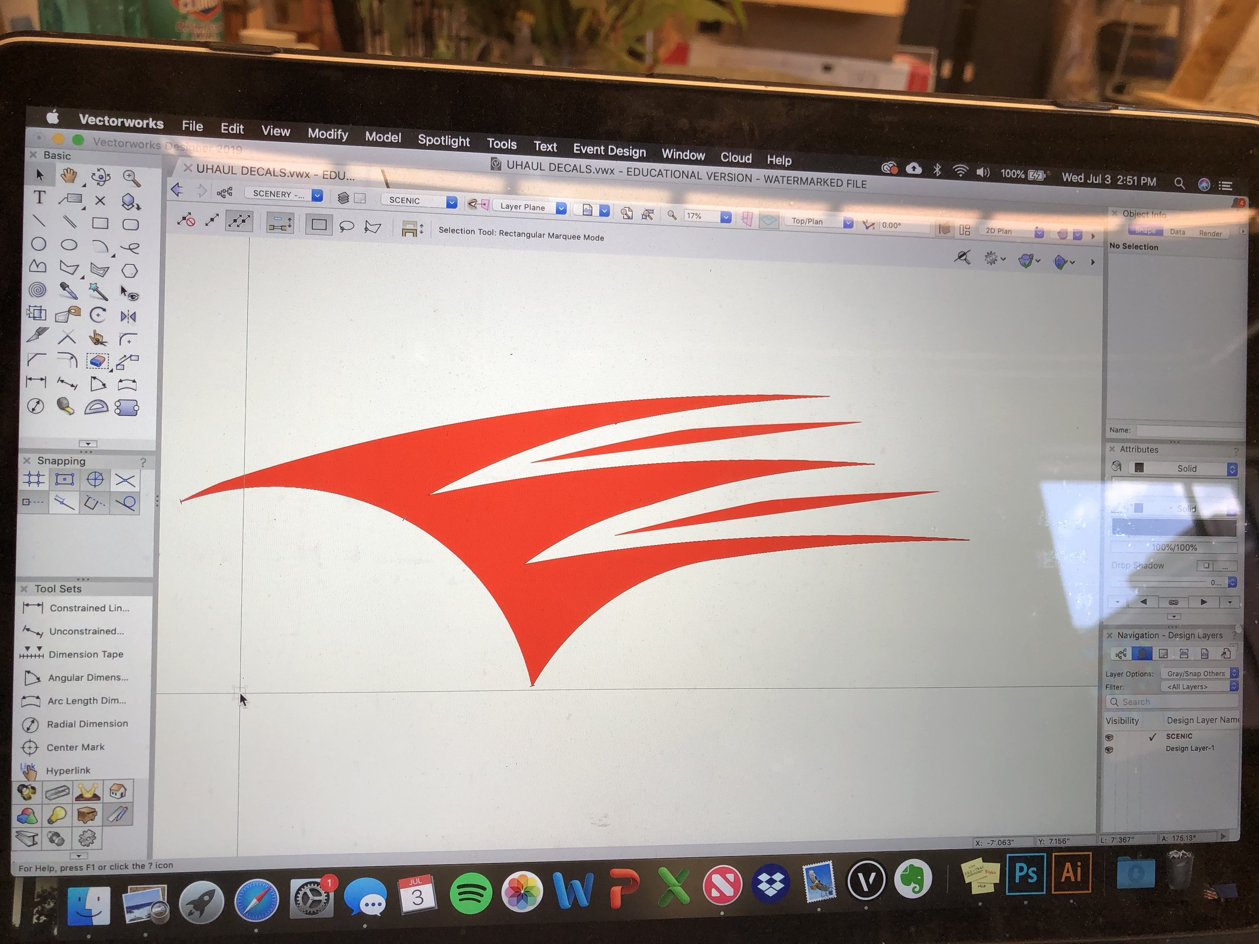 Orange Decal drafted in Vectorworks